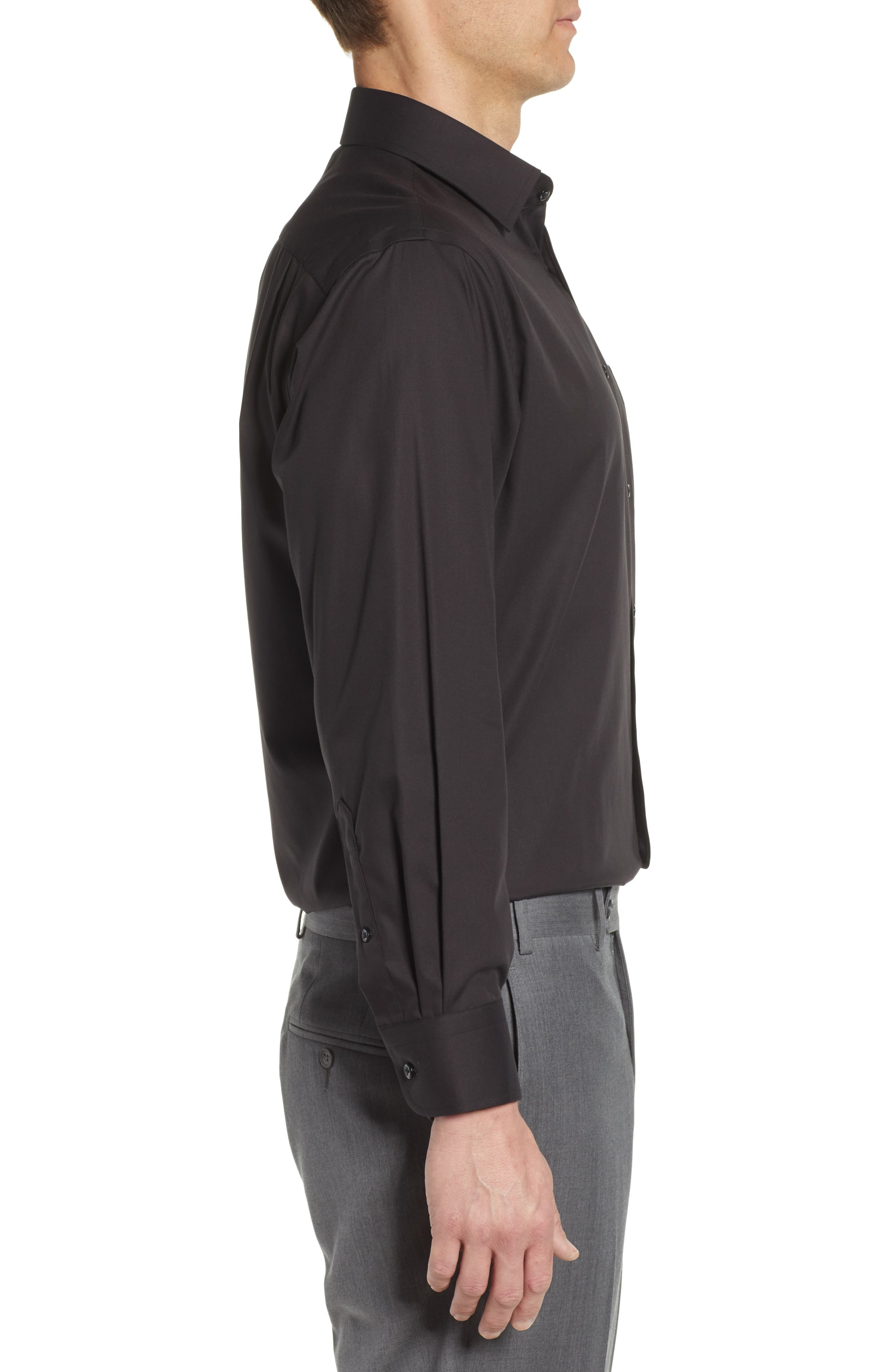 NORDSTROM MEN'S SHOP, Classic Fit Non-Iron Dress Shirt, Alternate thumbnail 4, color, BLACK