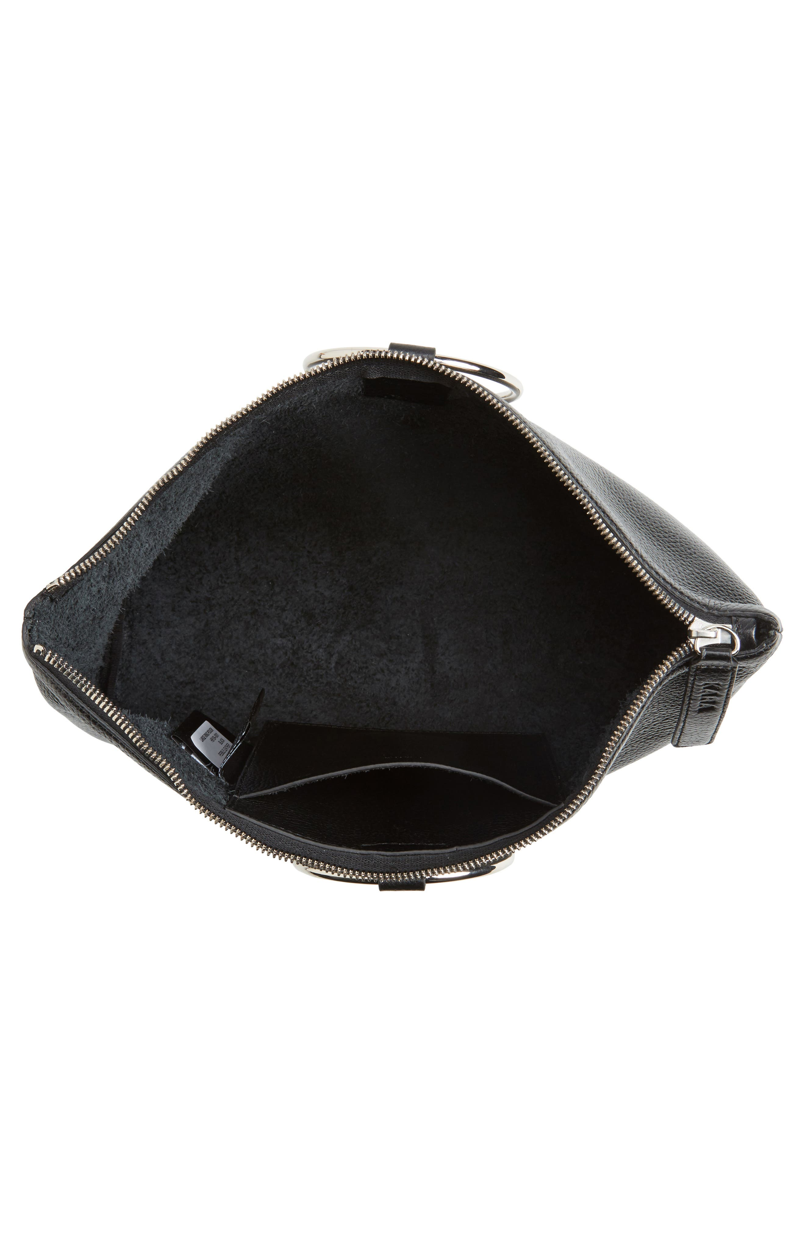 KARA, Large Pebbled Leather Ring Clutch, Alternate thumbnail 4, color, 001