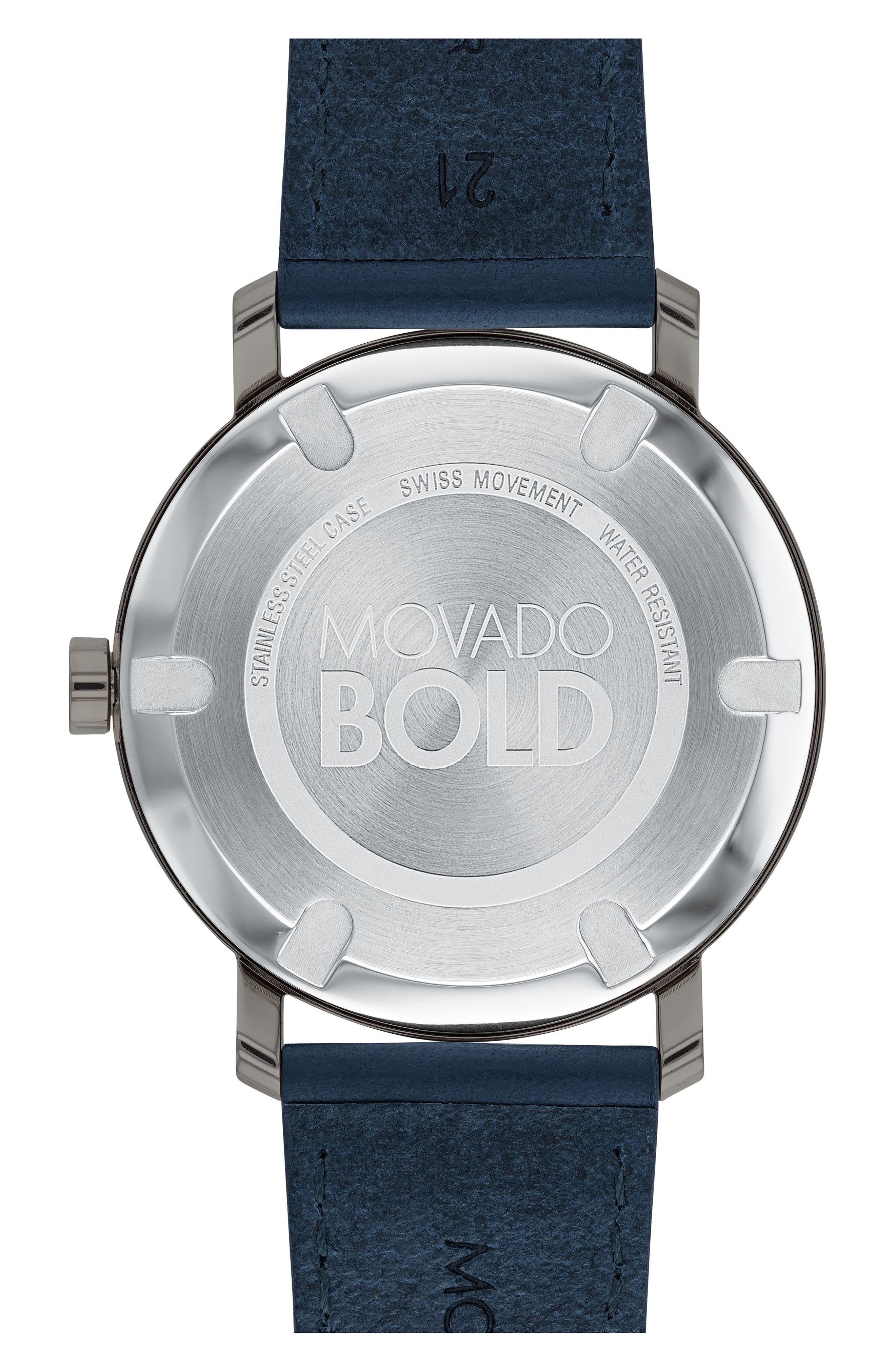 MOVADO, Bold Leather Strap Watch, 40mm, Alternate thumbnail 2, color, NAVY/ GREY