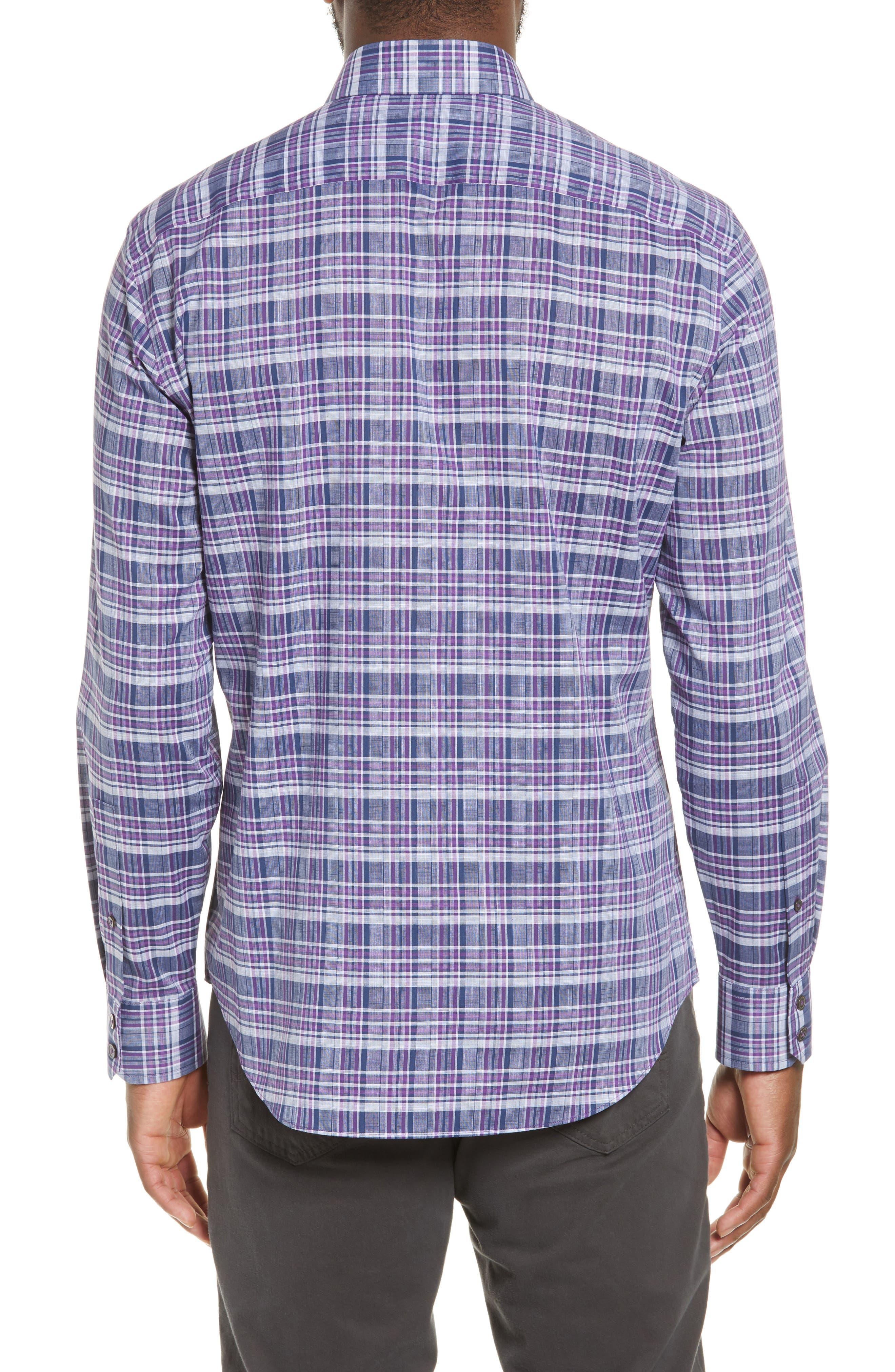 ZACHARY PRELL, Caro Regular Fit Sport Shirt, Alternate thumbnail 3, color, PURPLE