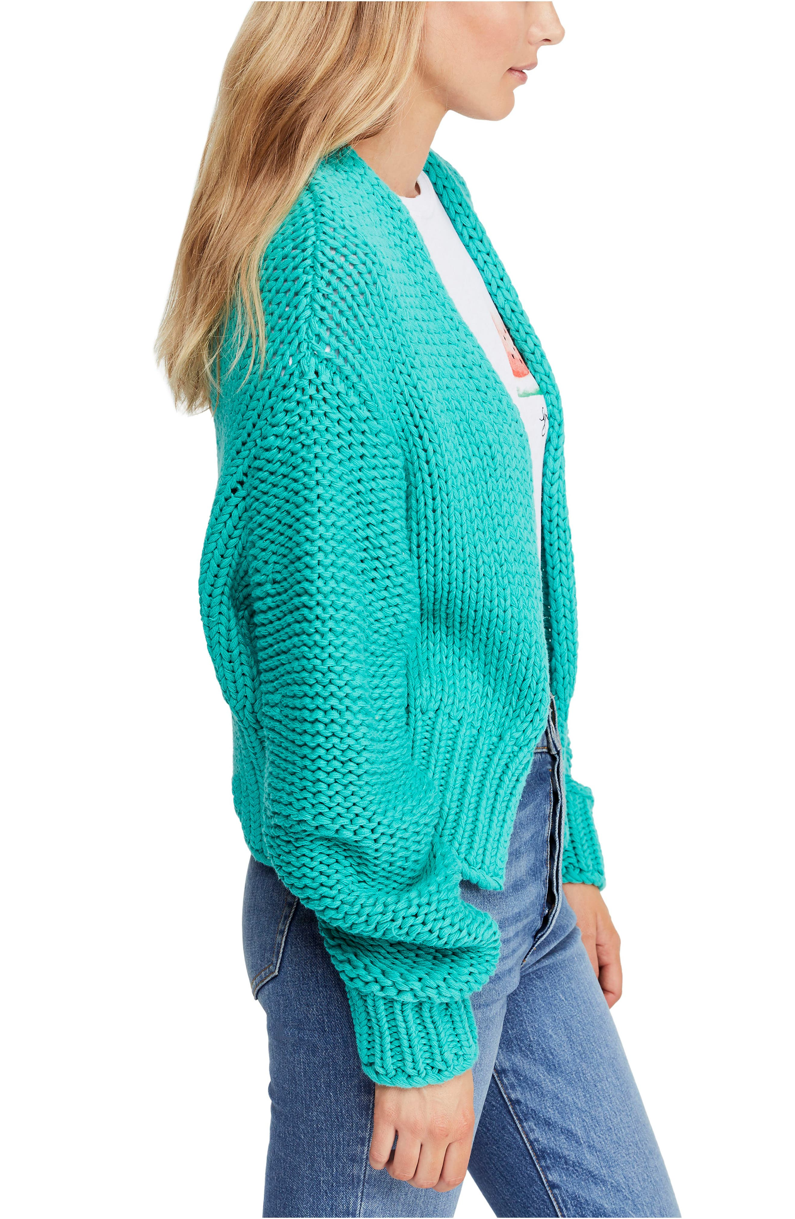 FREE PEOPLE, Glow For It Cardigan, Alternate thumbnail 3, color, 440