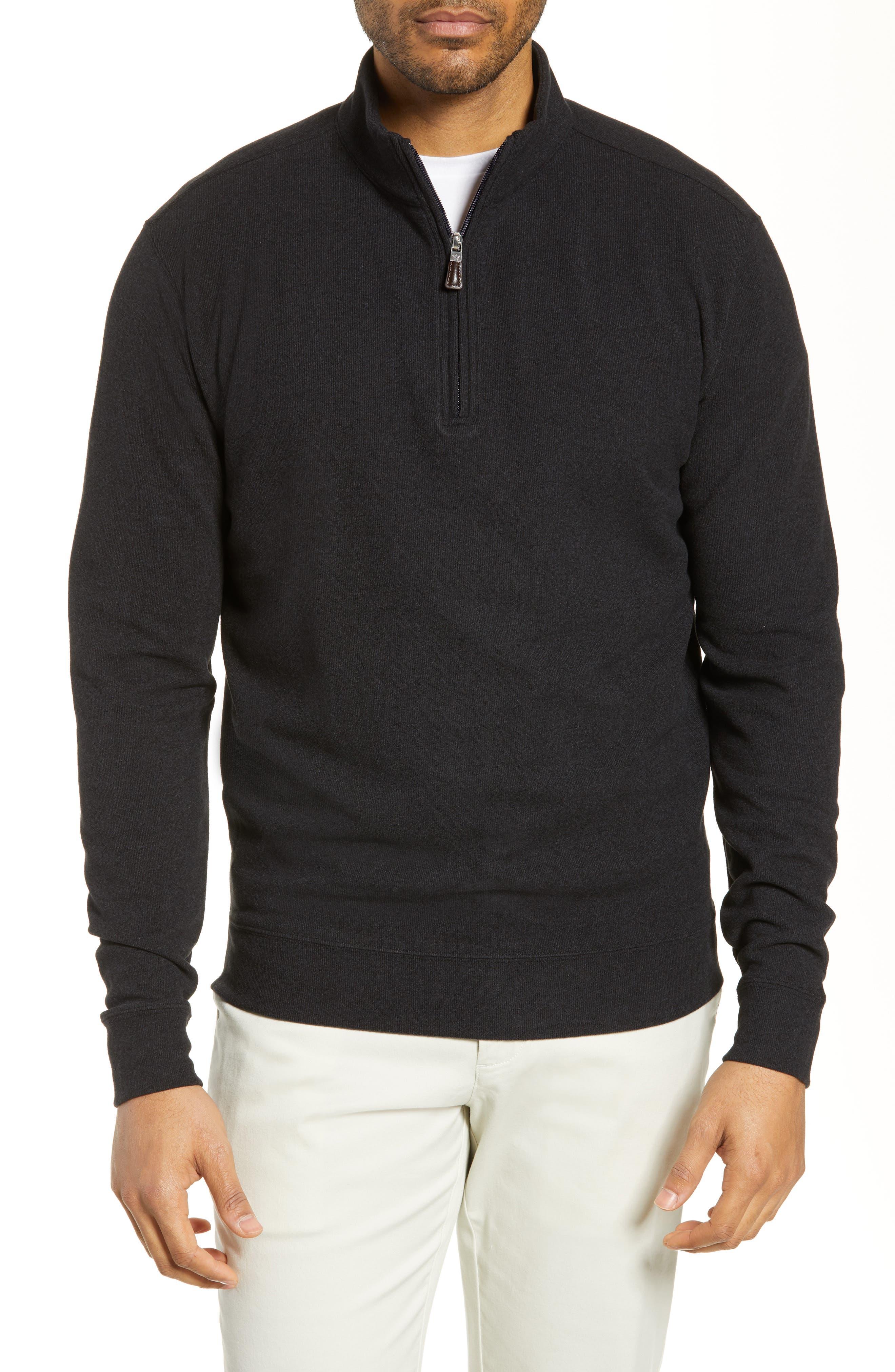 PETER MILLAR, Half Zip Pullover, Main thumbnail 1, color, BLACK