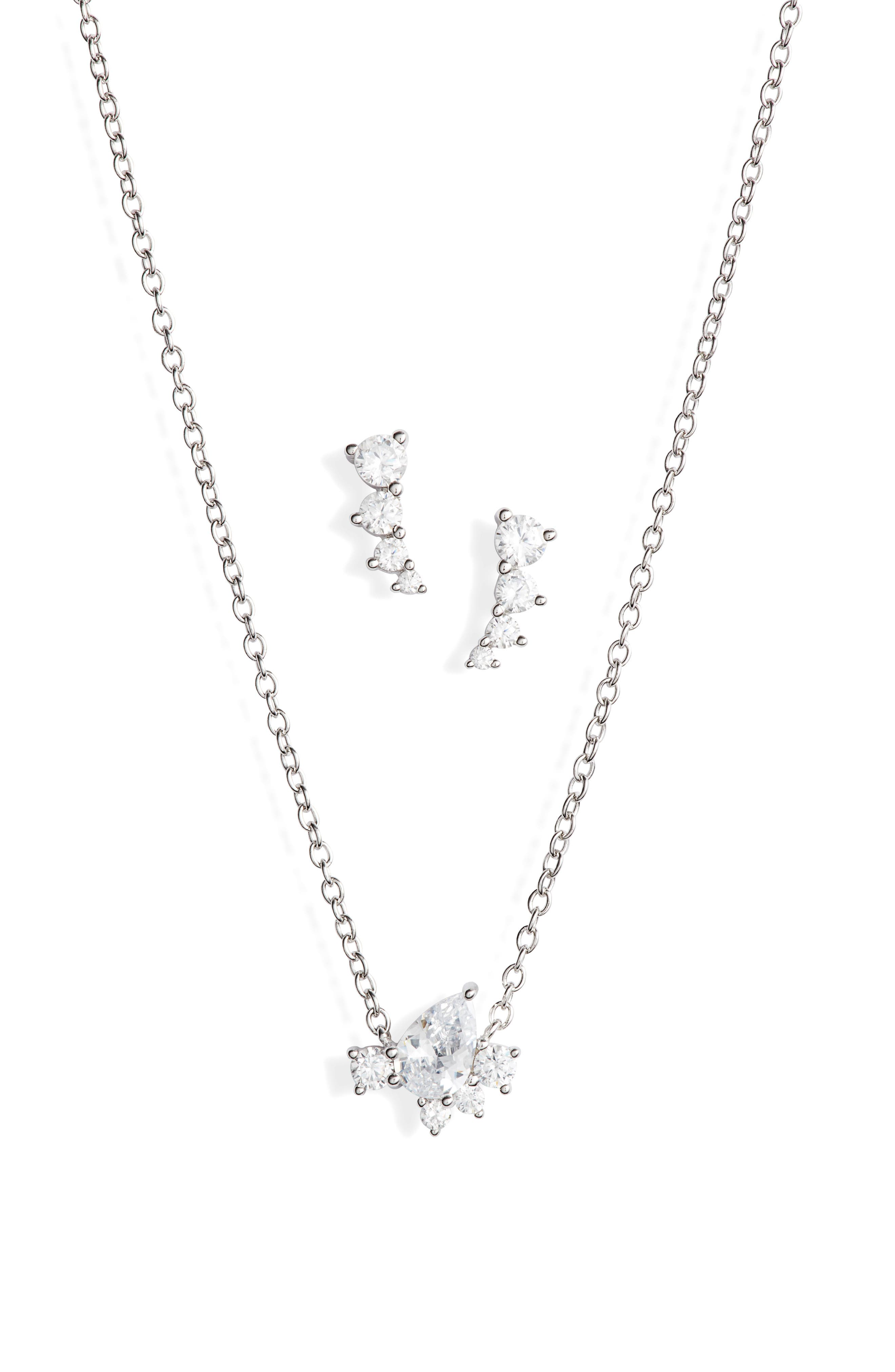 NORDSTROM Cubic Zirconia Cluster Earrings & Necklace Set, Main, color, CLEAR- SILVER