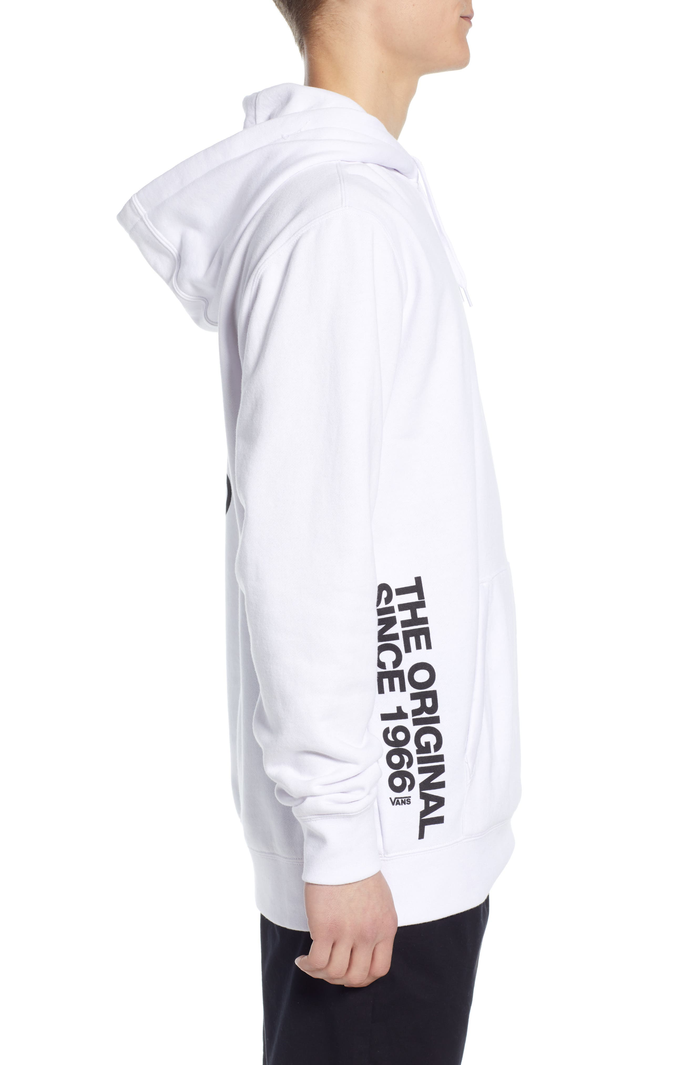 VANS, Off the Wall Distort Hooded Sweatshirt, Alternate thumbnail 3, color, WHITE