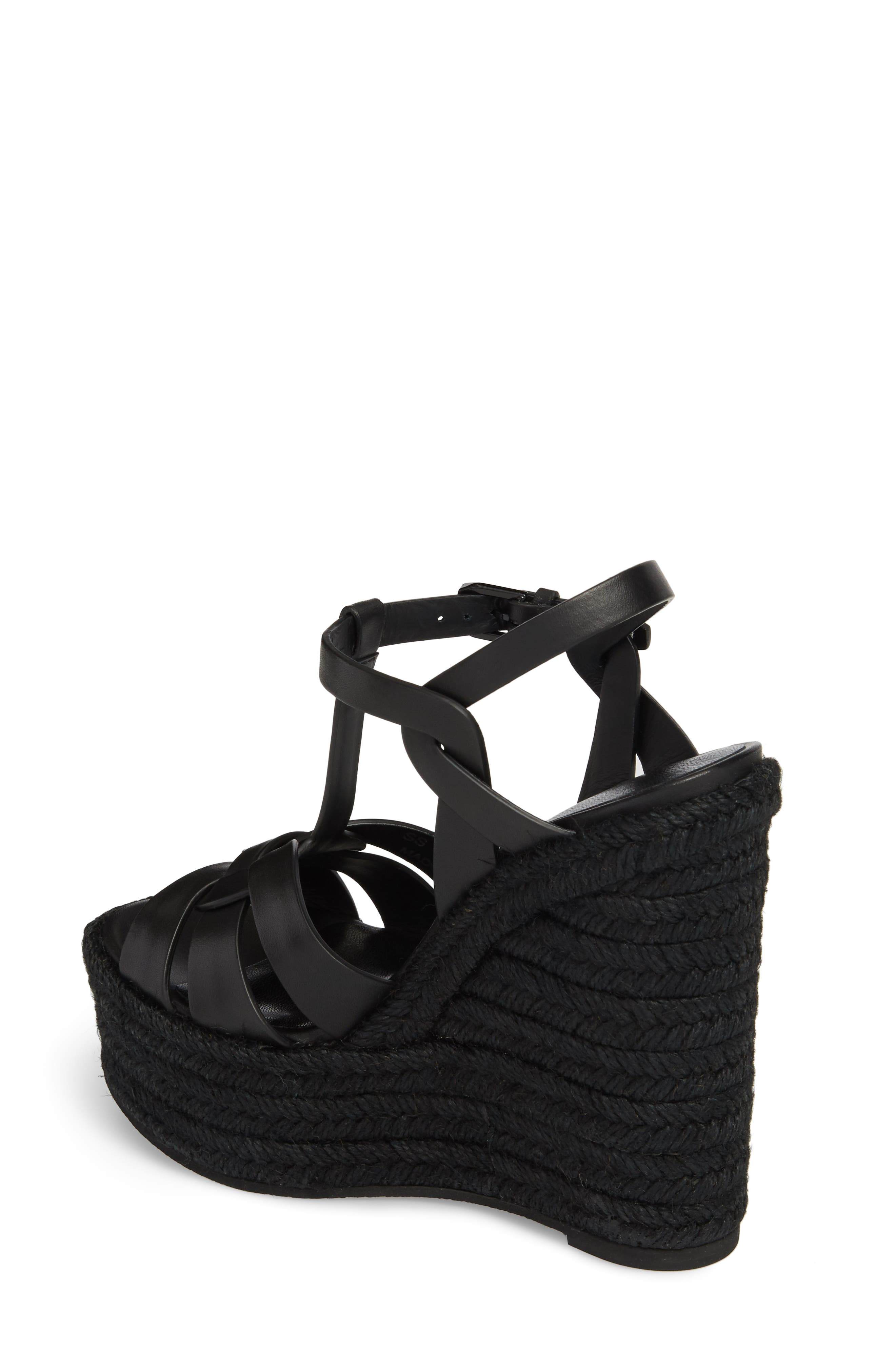 SAINT LAURENT, Tribute Espadrille Wedge, Alternate thumbnail 2, color, BLACK