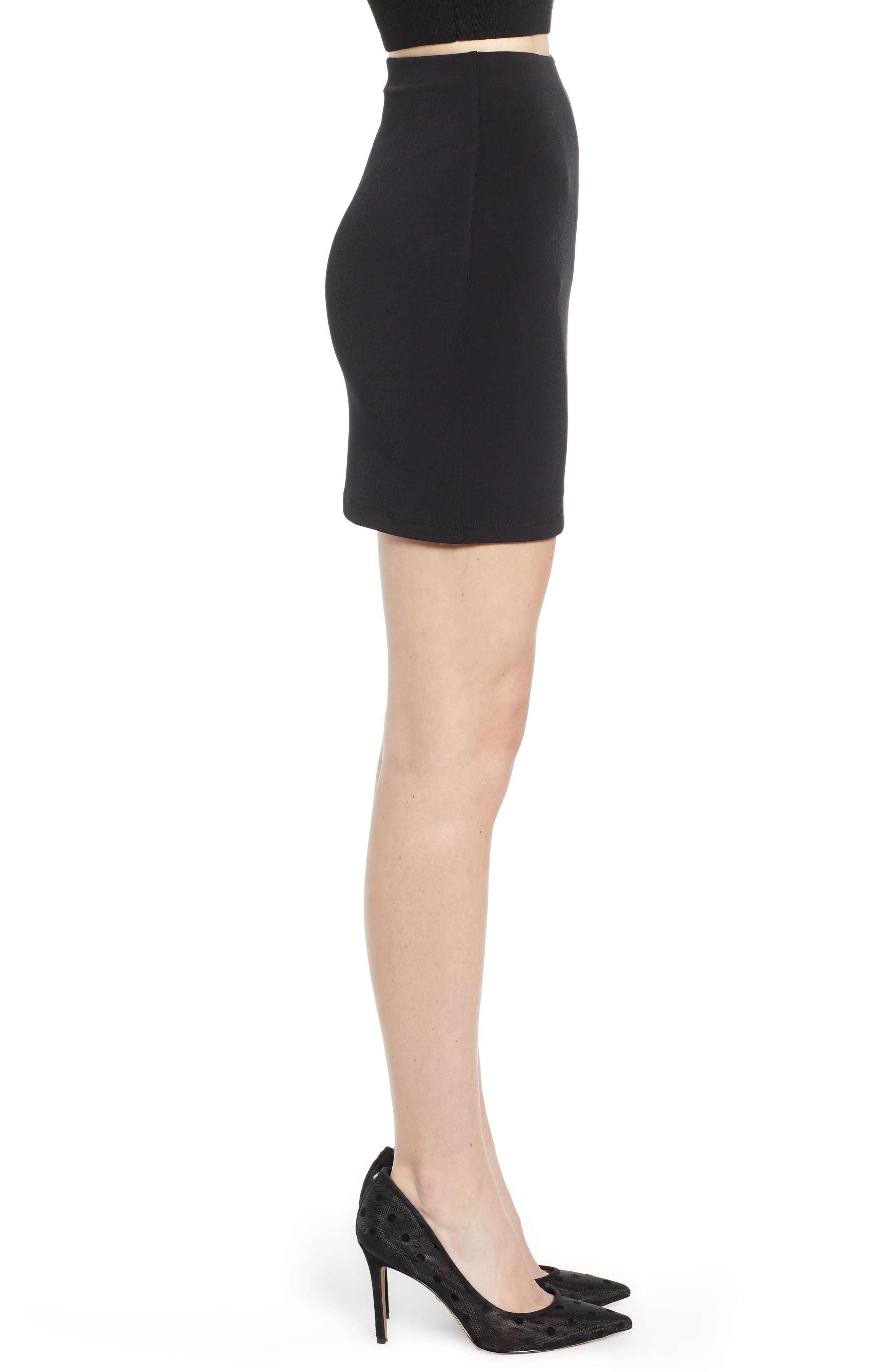 LEITH, Mini Body-Con Skirt, Alternate thumbnail 3, color, BLACK