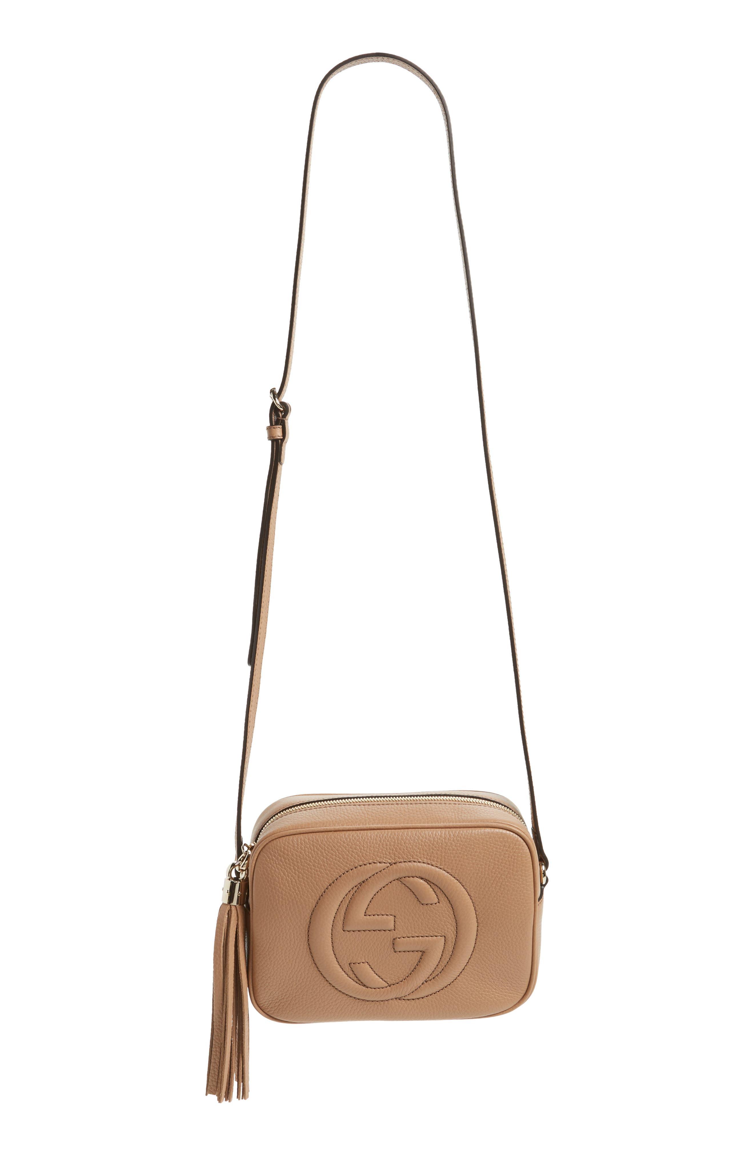 GUCCI Soho Disco Leather Bag, Main, color, 2754 CAMELIA