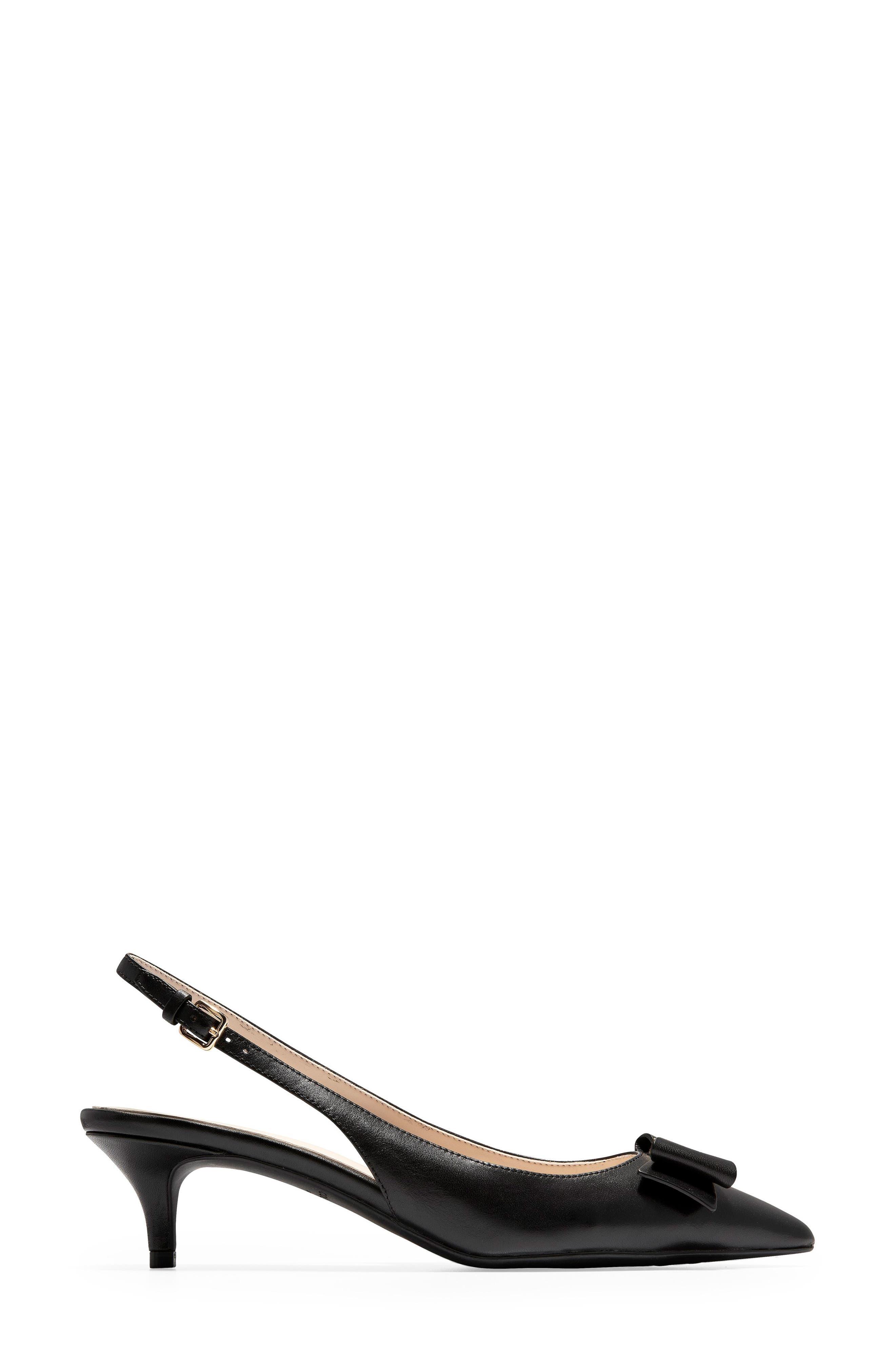 COLE HAAN, Tali Bow Slingback Pump, Alternate thumbnail 3, color, BLACK LEATHER
