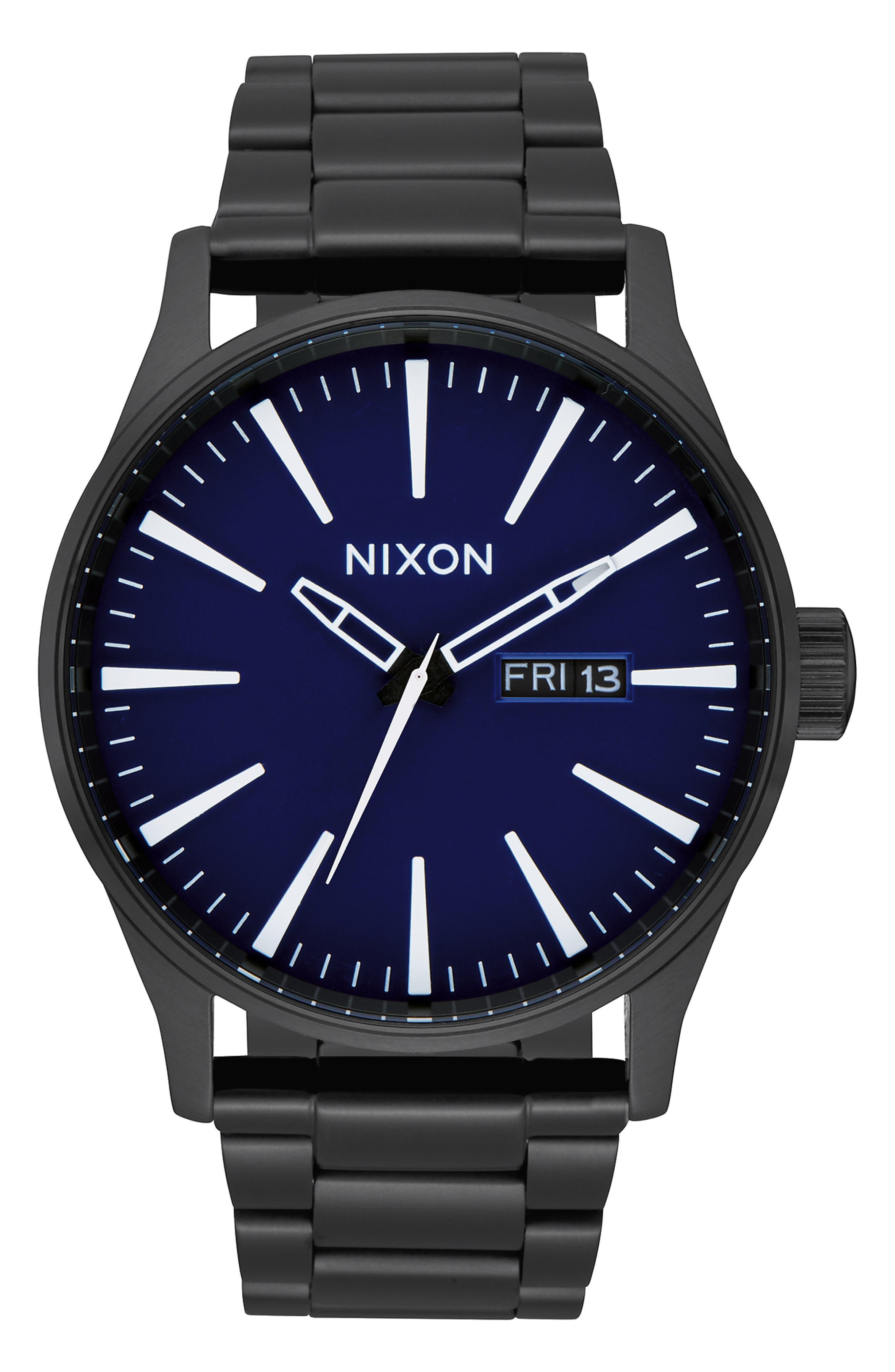 NIXON, Sentry Bracelet Watch, 42mm, Main thumbnail 1, color, BLACK/ DARK BLUE/ BLACK