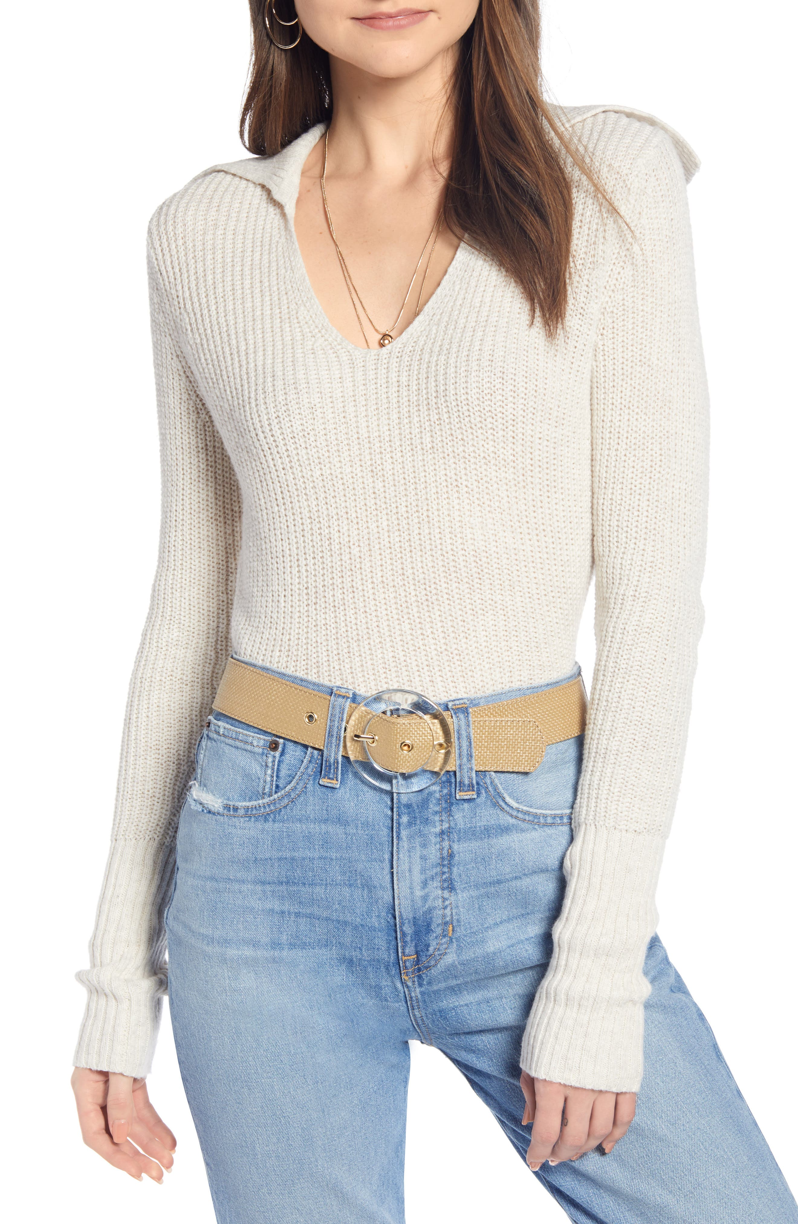 SOMETHING NAVY V-Neck Polo Sweater, Main, color, BEIGE OATMEAL LIGHT HEATHER