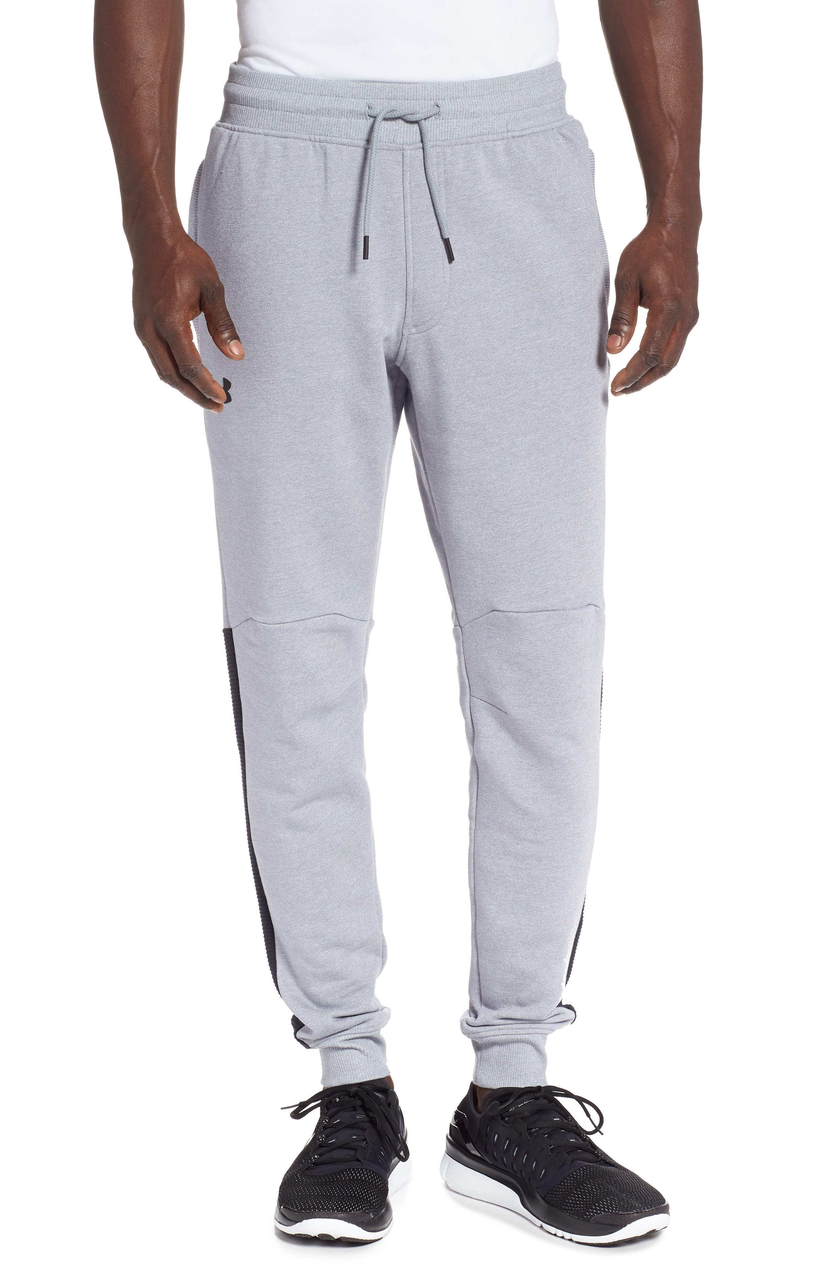 UNDER ARMOUR Threadborne Jogger Pants, Main, color, STEEL LIGHT HEATHER/ BLACK