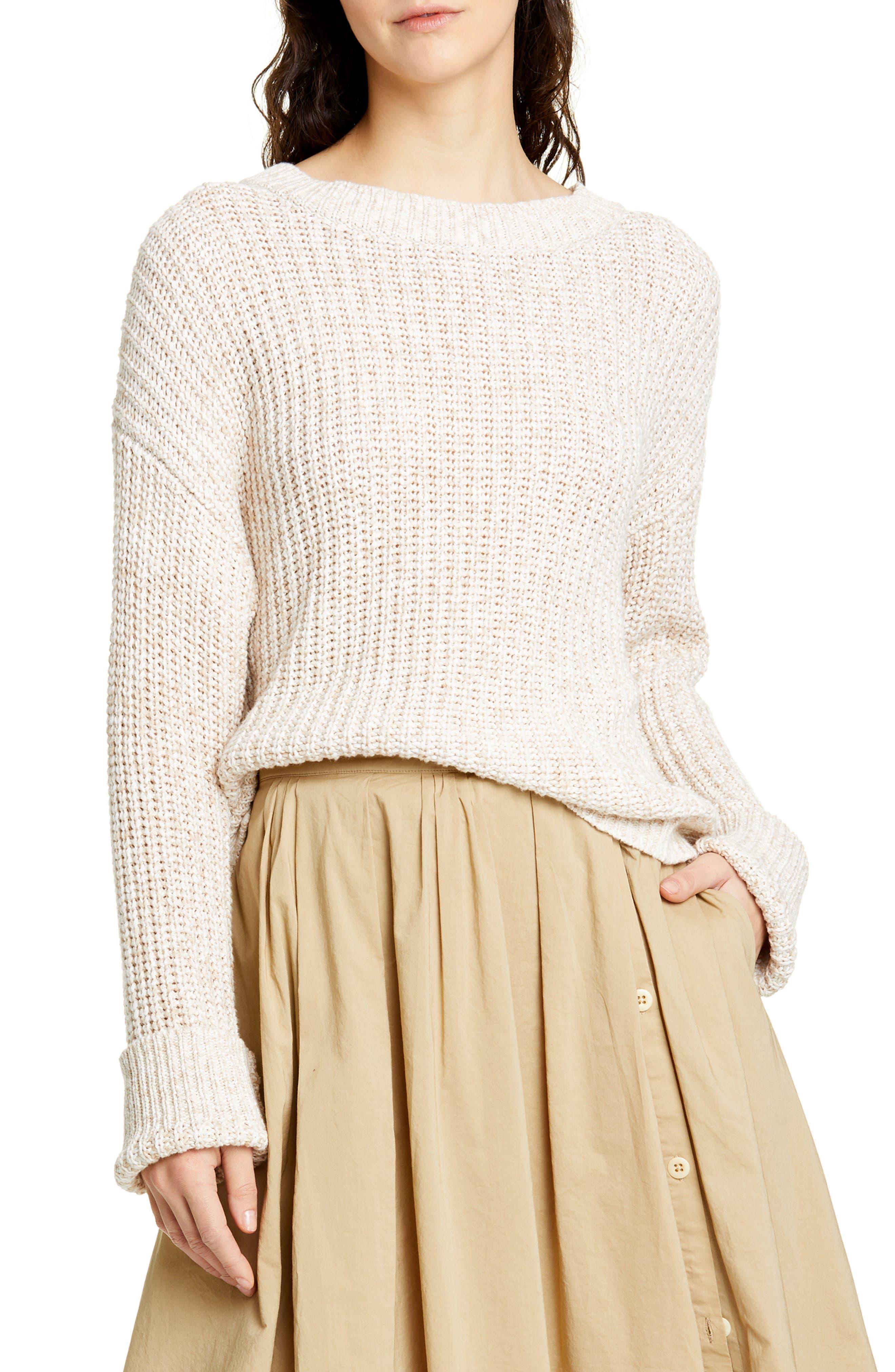 ALEX MILL, Mélange Sweater, Main thumbnail 1, color, LIGHT KHAKI