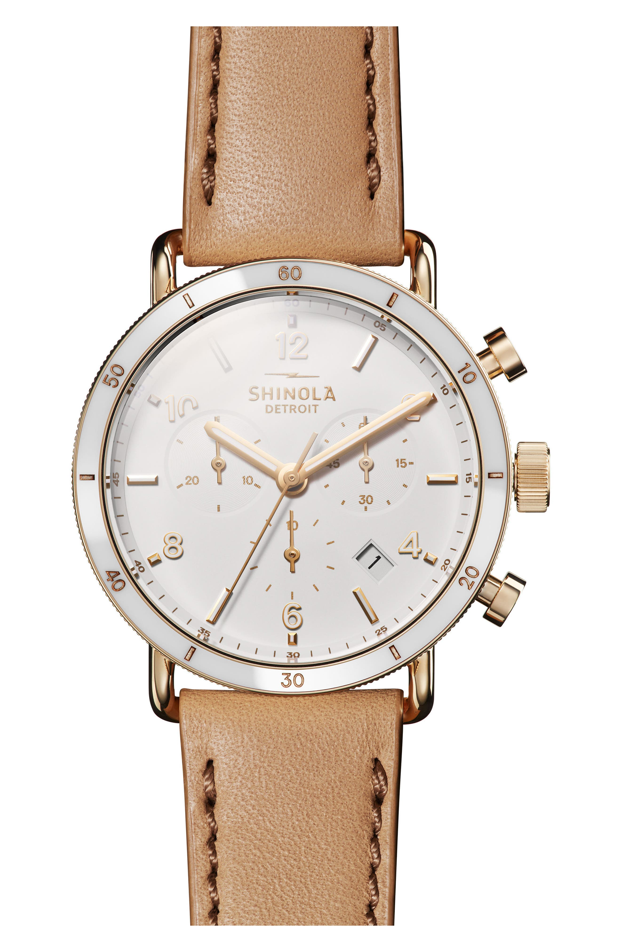 SHINOLA, The Canfield Chrono Leather Strap Watch, 40mm, Main thumbnail 1, color, CAMEL/ WHITE/ GOLD