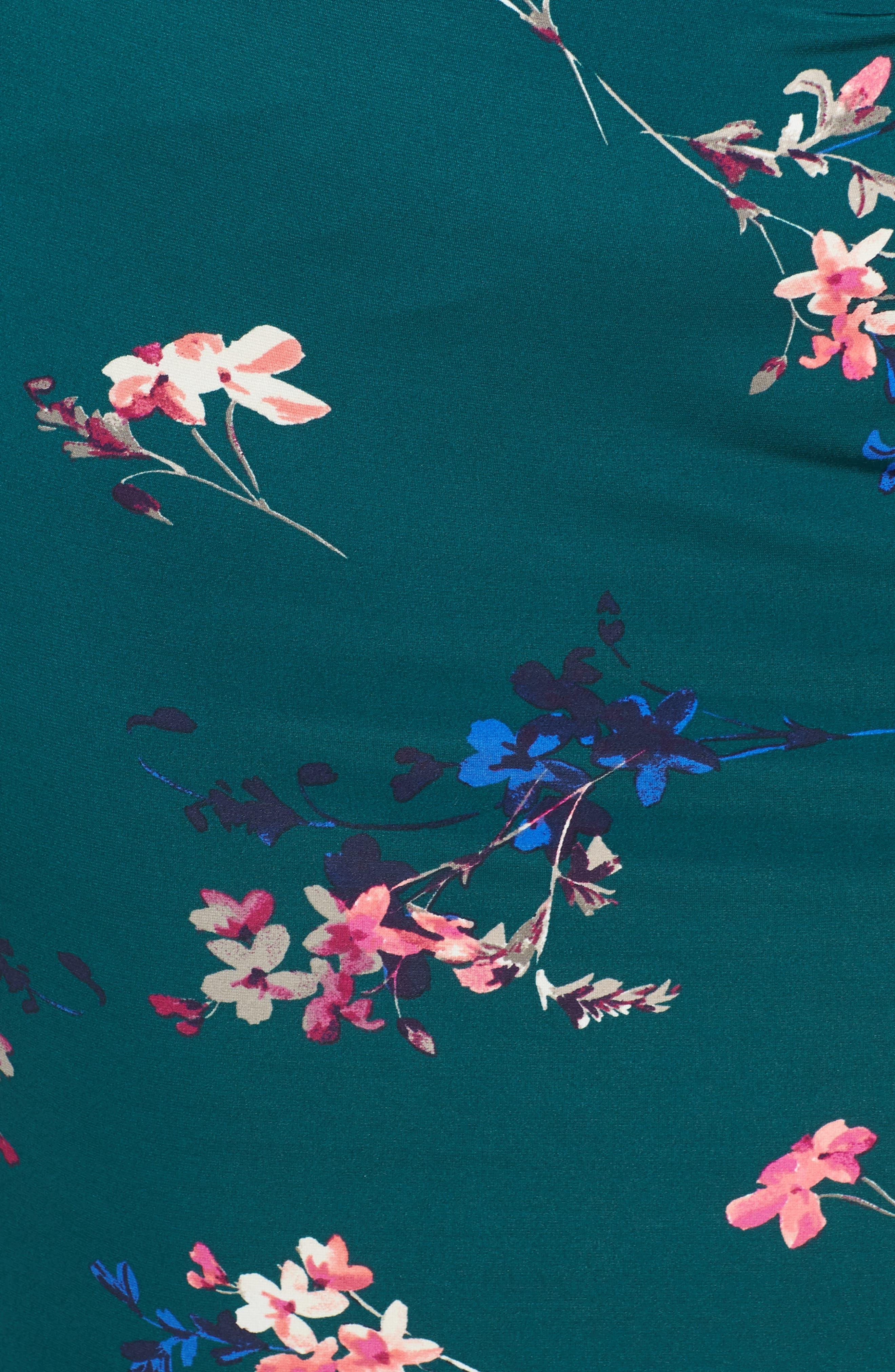 ELIZA J, Floral Print Cap Sleeve Sheath Dress, Alternate thumbnail 6, color, GREEN