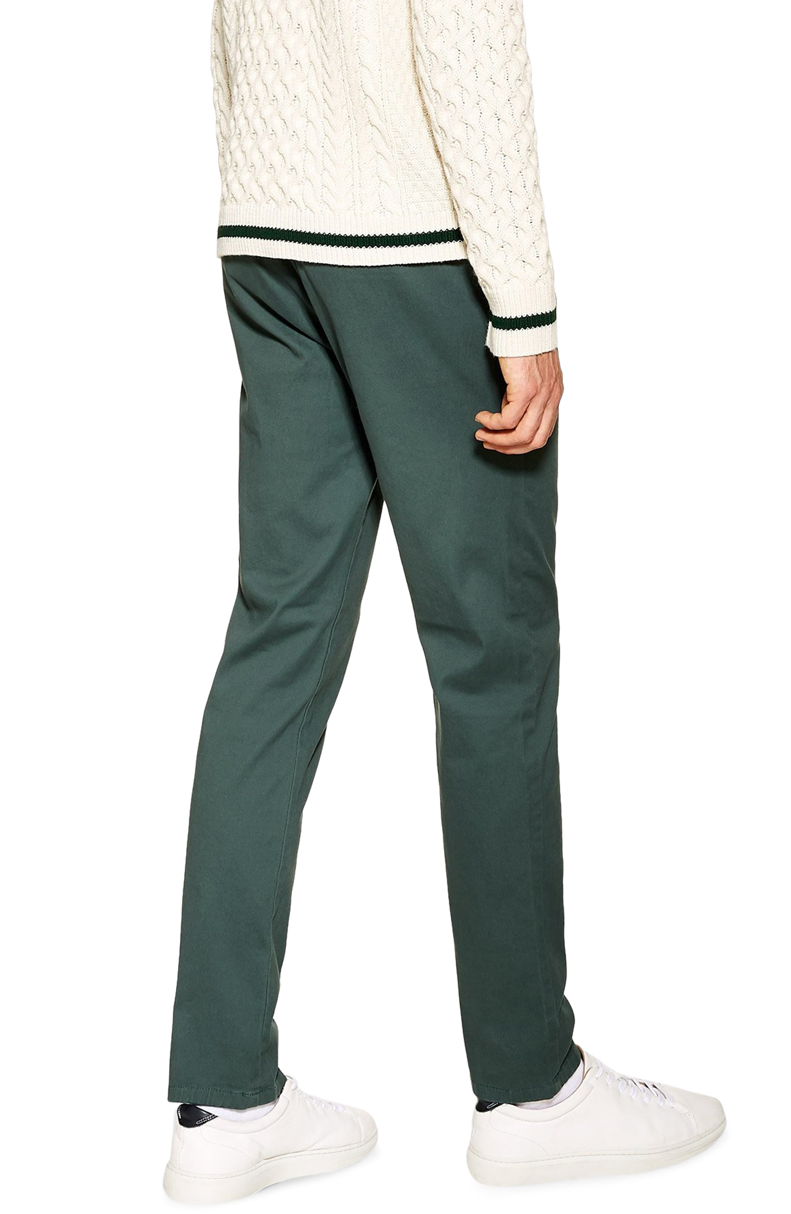 TOPMAN, Stretch Skinny Fit Chinos, Alternate thumbnail 2, color, GREEN