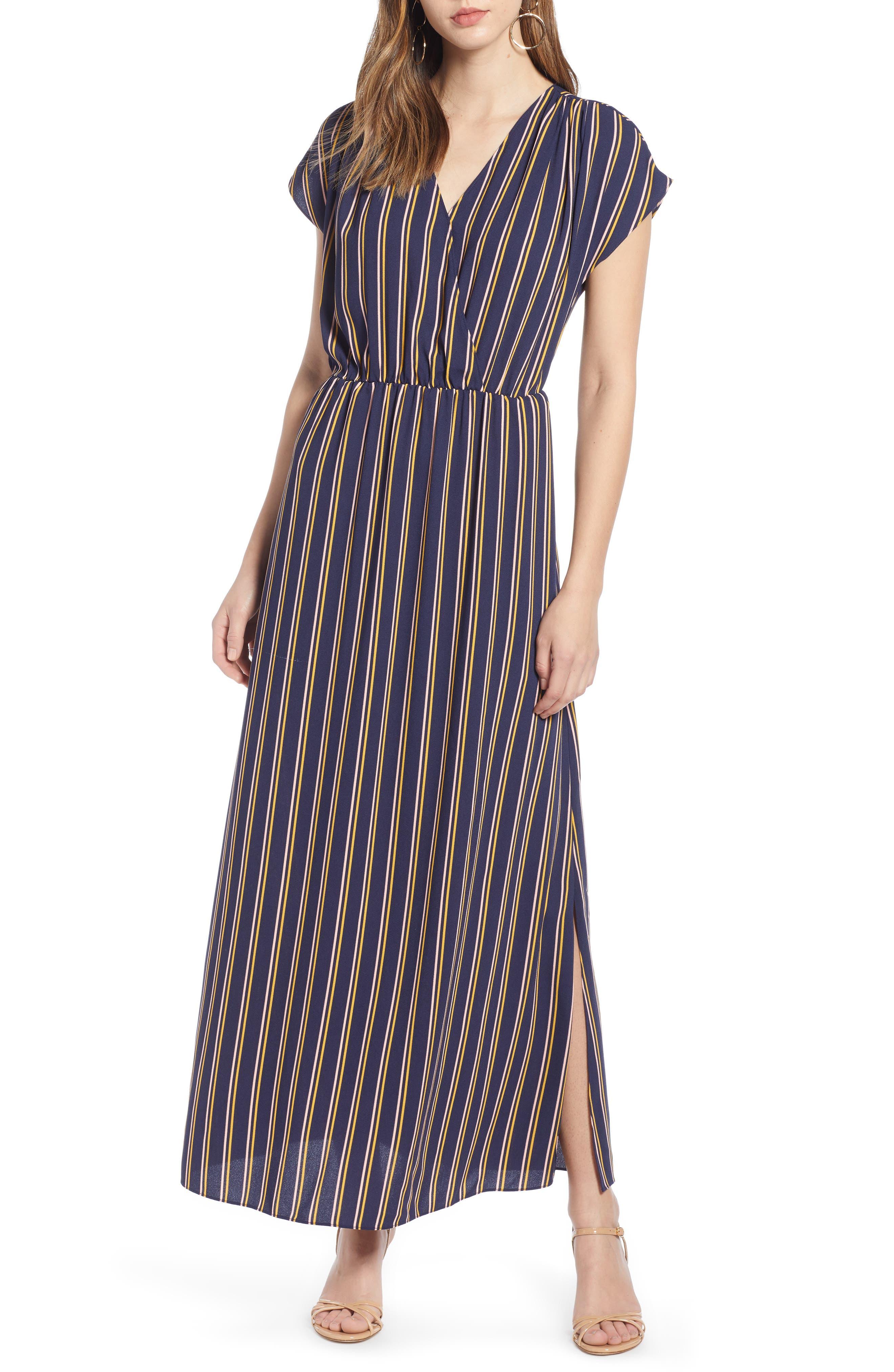 Halogen V-Neck Maxi Dress, Blue