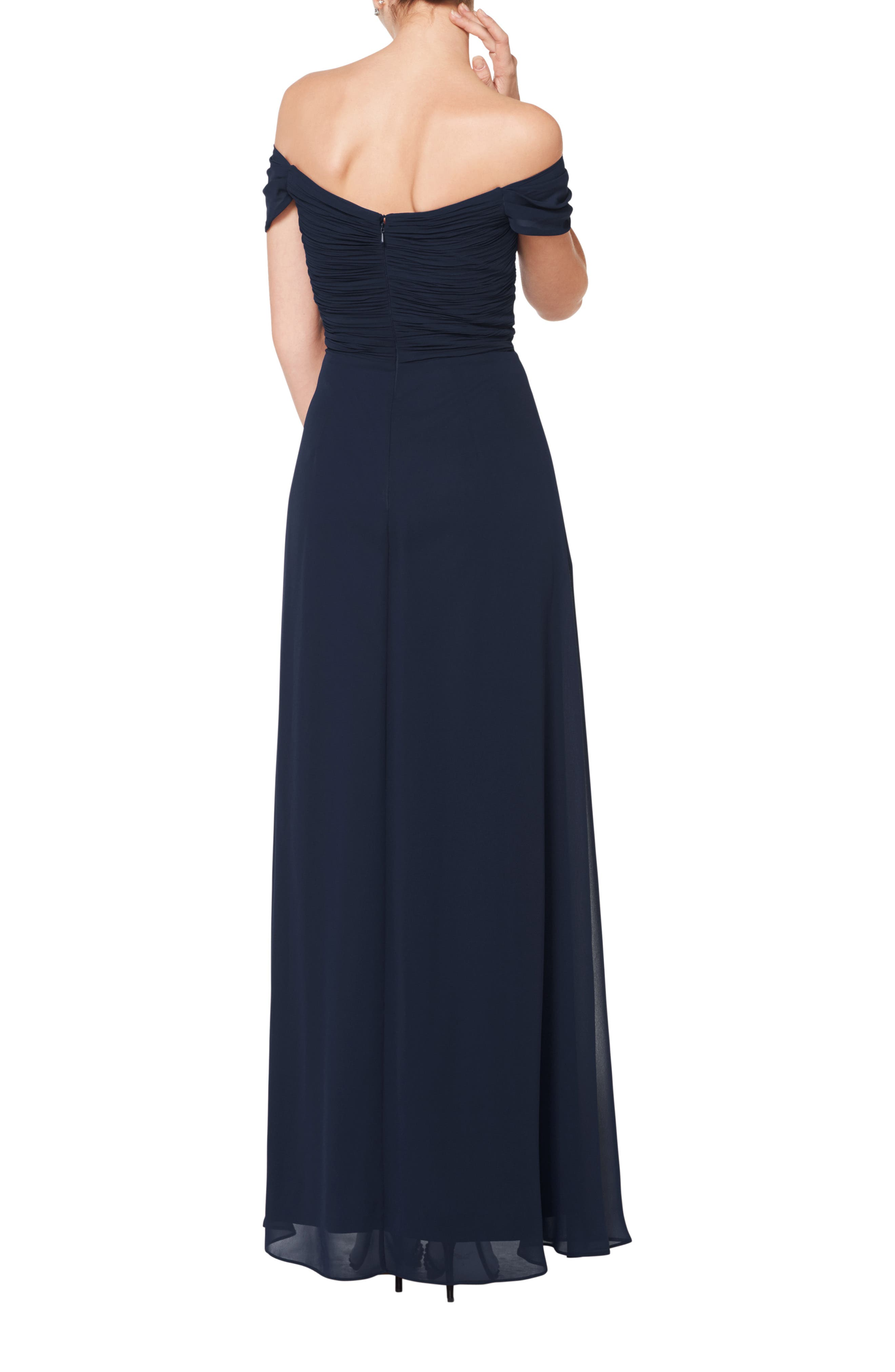 #LEVKOFF, Off the Shoulder Ruched Bodice Chiffon Evening Dress, Alternate thumbnail 2, color, NAVY