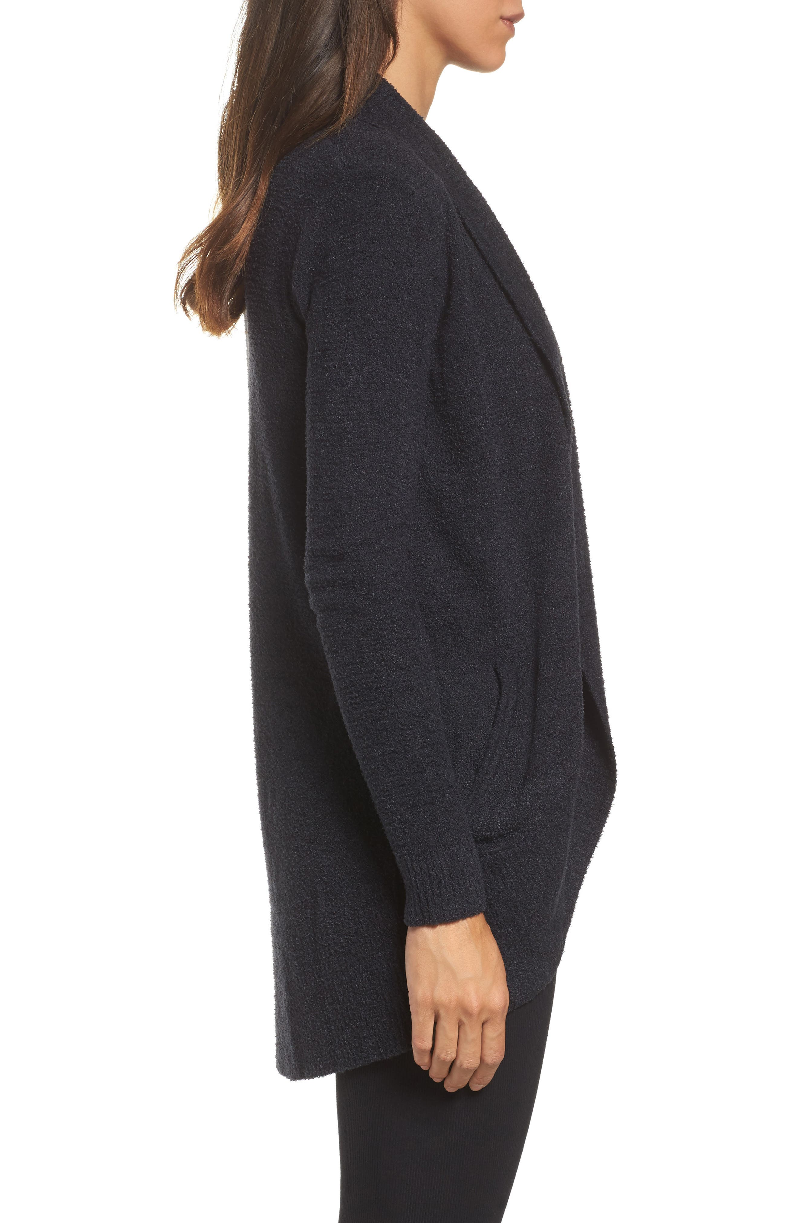 BAREFOOT DREAMS<SUP>®</SUP>, CozyChic Lite<sup>®</sup> Circle Cardigan, Alternate thumbnail 3, color, BLACK