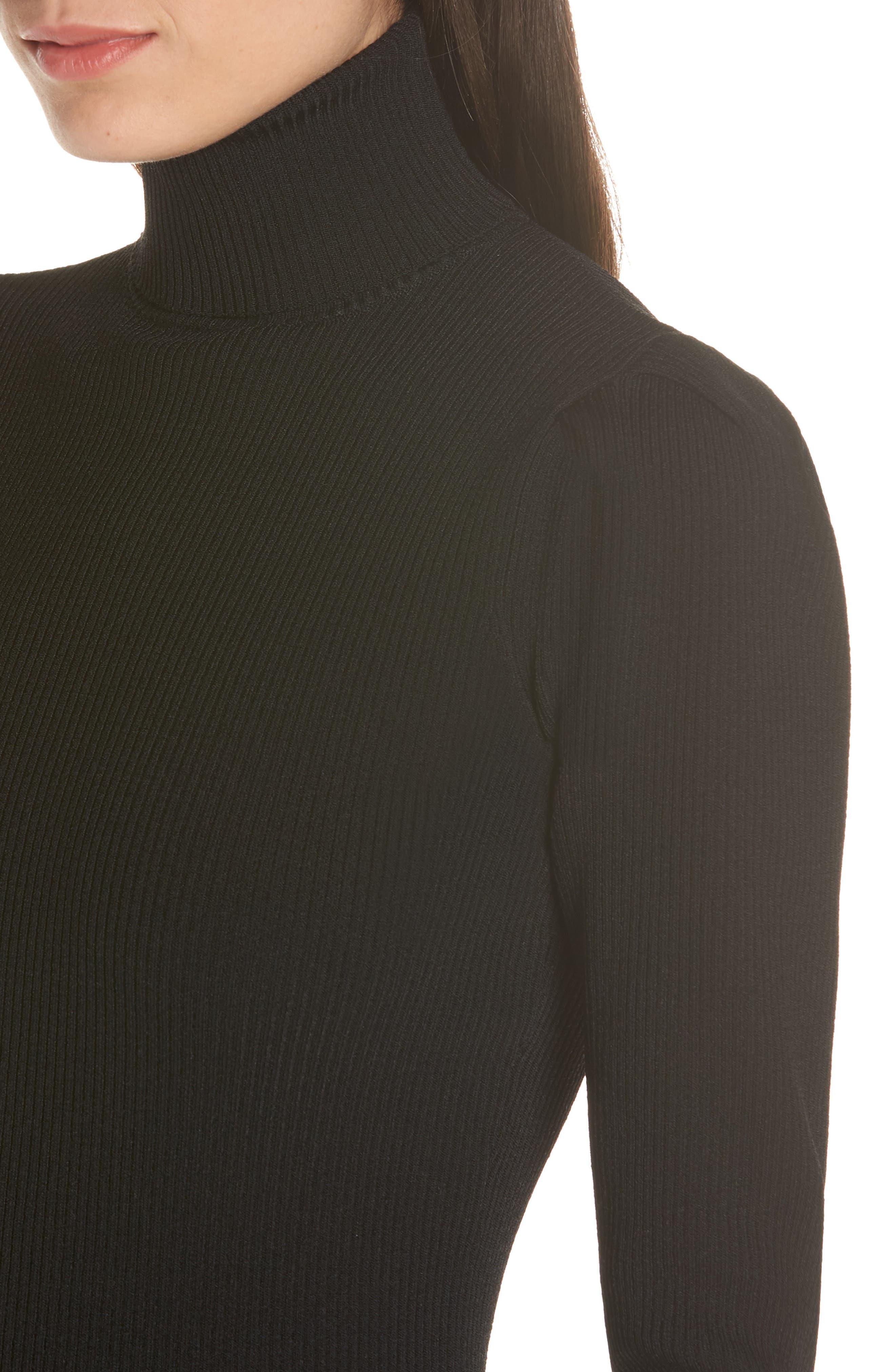 ALI & JAY, Best of My Love Turtleneck Sweater Dress, Alternate thumbnail 4, color, 001