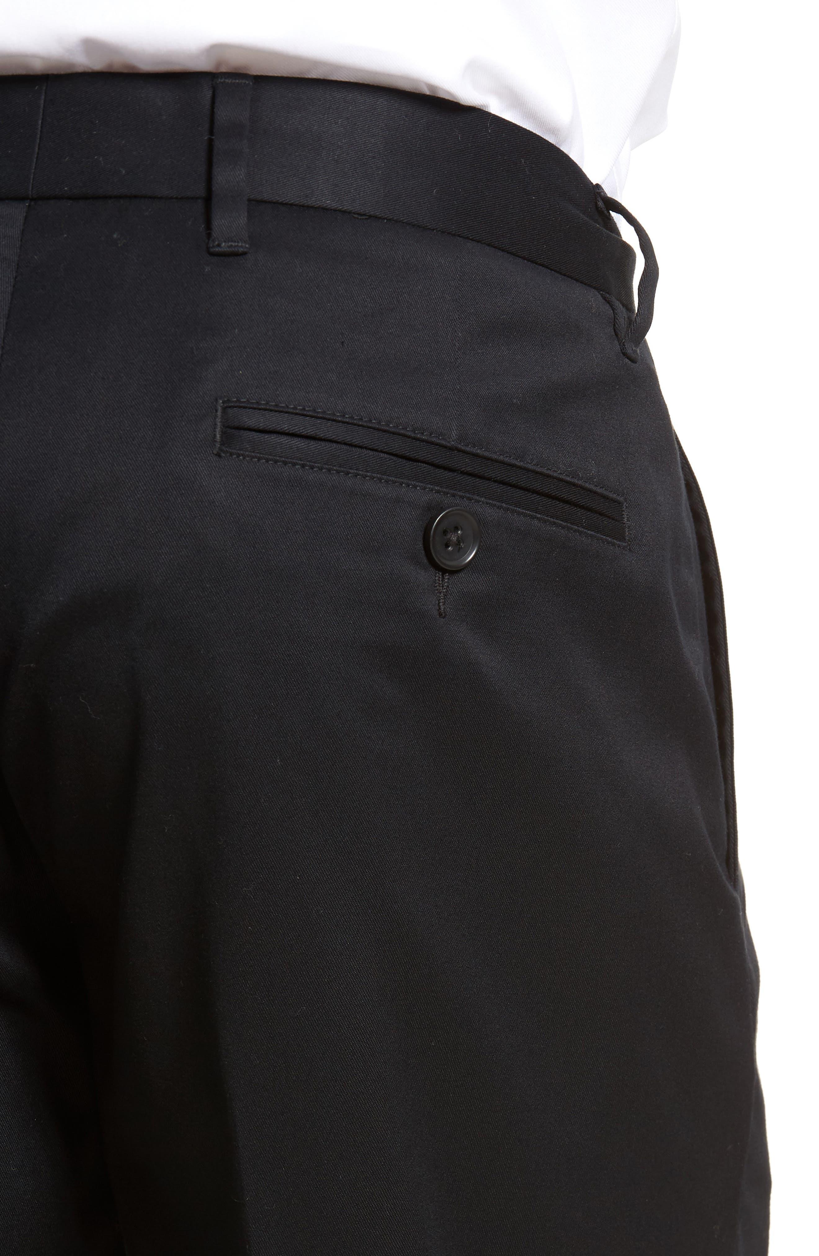 NORDSTROM MEN'S SHOP, Athletic Fit Non-Iron Chinos, Alternate thumbnail 5, color, BLACK CAVIAR