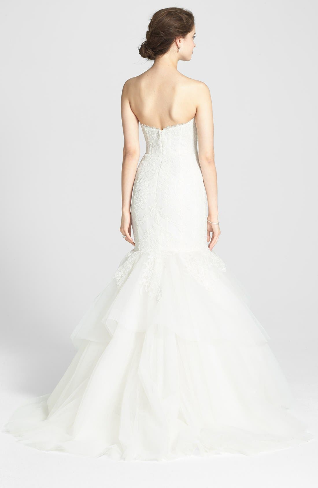 AMSALE, Carson French Lace & Tulle Mermaid Wedding Dress, Alternate thumbnail 4, color, 900
