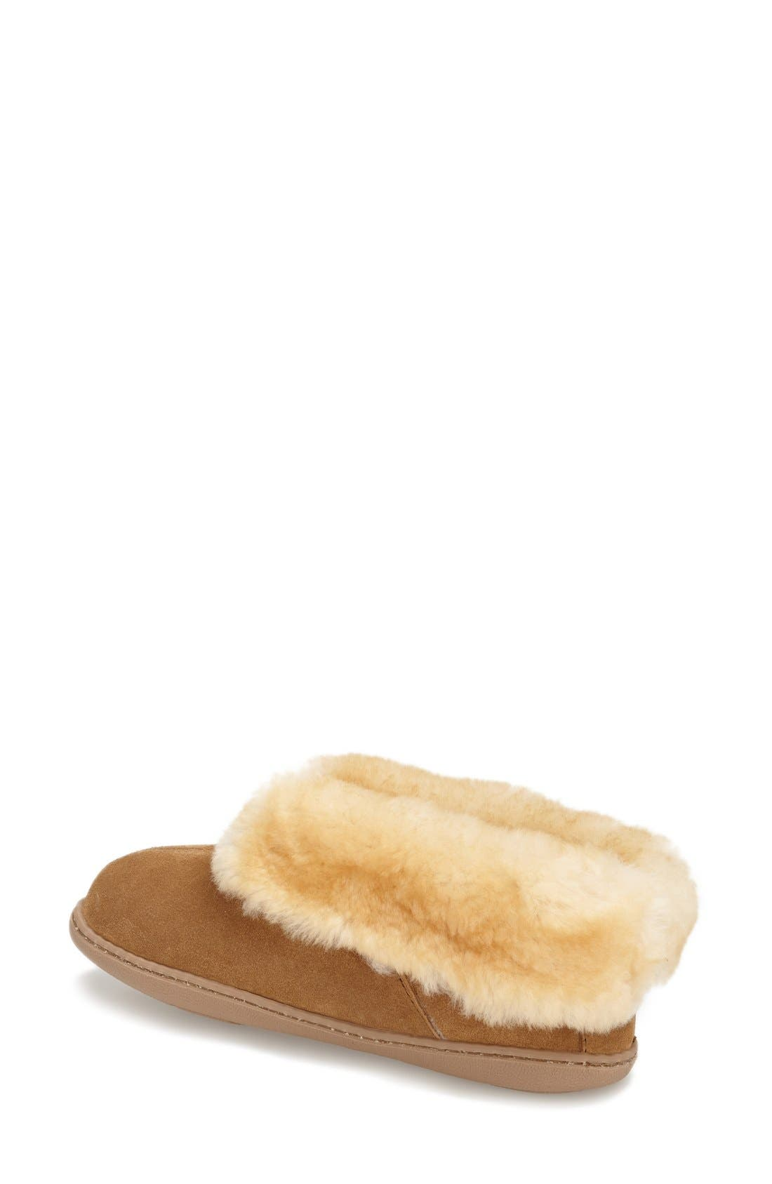 MINNETONKA, Sheepskin Slipper Bootie, Alternate thumbnail 2, color, TAN SUEDE