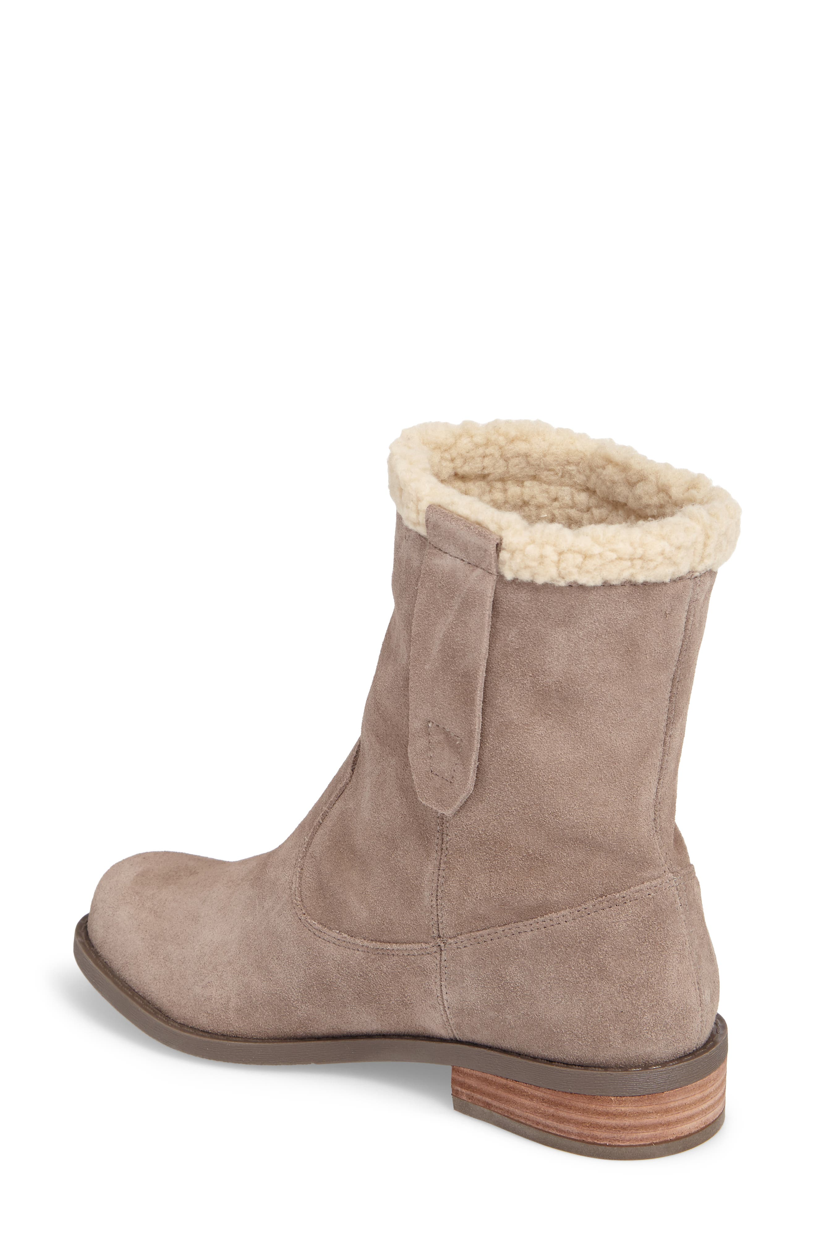 SOLE SOCIETY, Verona Faux Shearling Boot, Alternate thumbnail 2, color, DARK MUSHROOM SUEDE