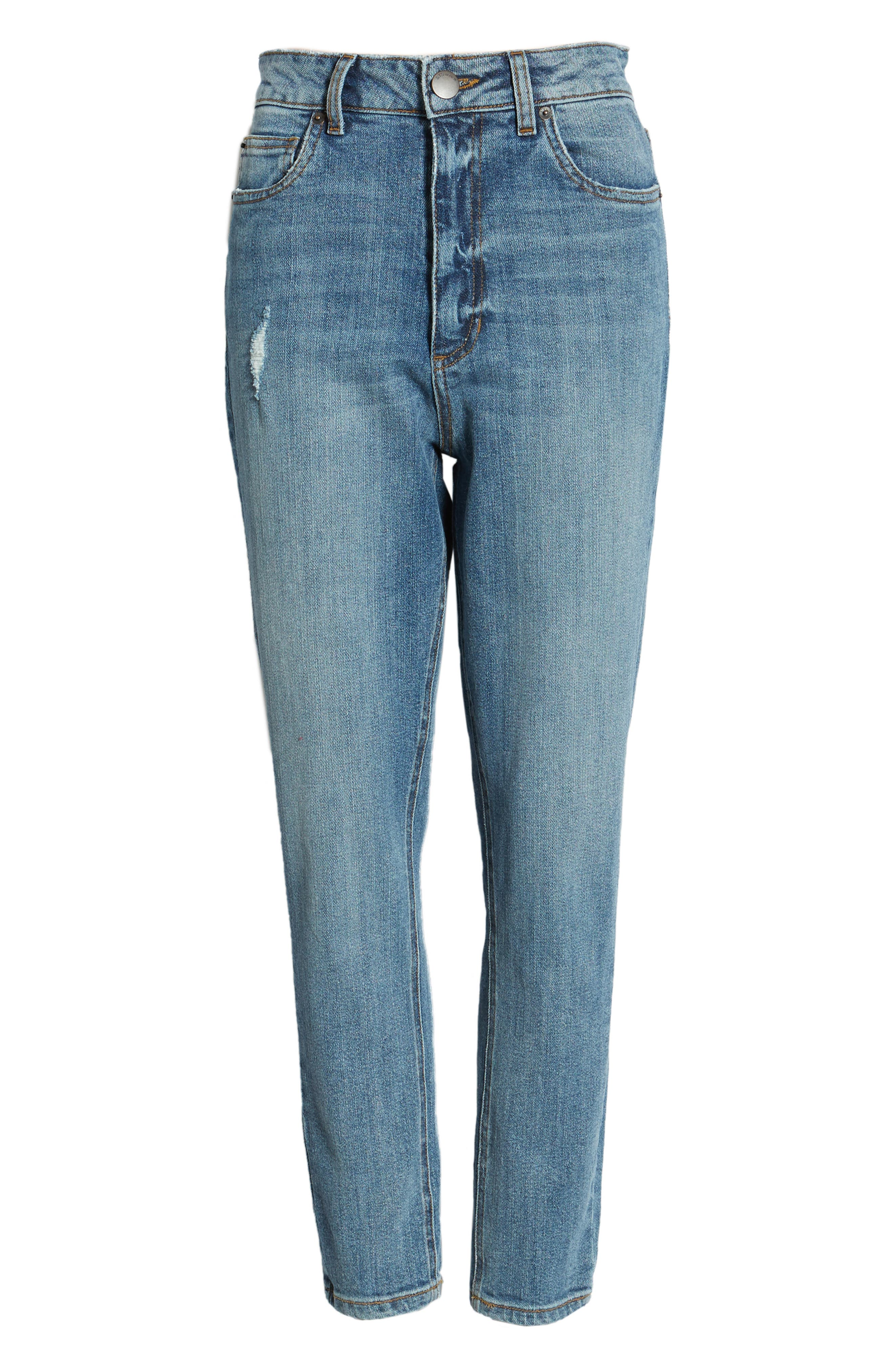 STS BLUE, Sophia High Waist Mom Jeans, Alternate thumbnail 7, color, CONEFLOWER MED WASH