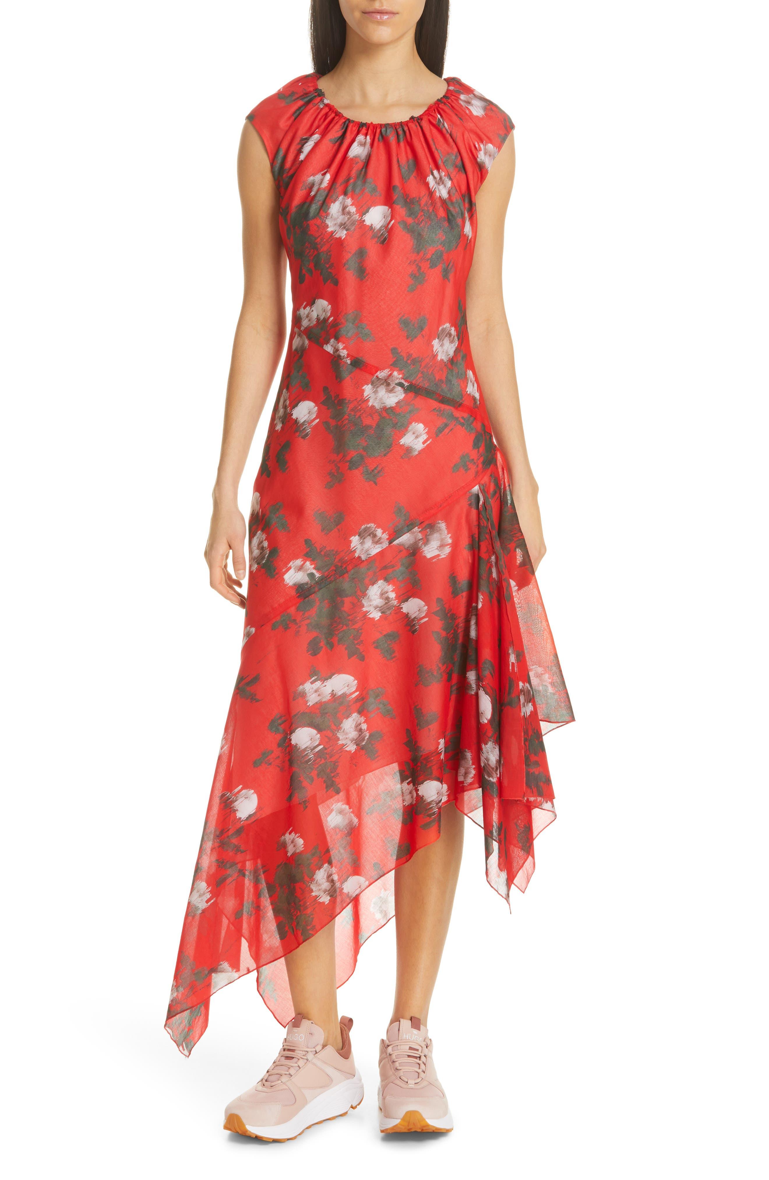 HUGO, Kefesha Asymmetrical Midi Dress, Main thumbnail 1, color, RED