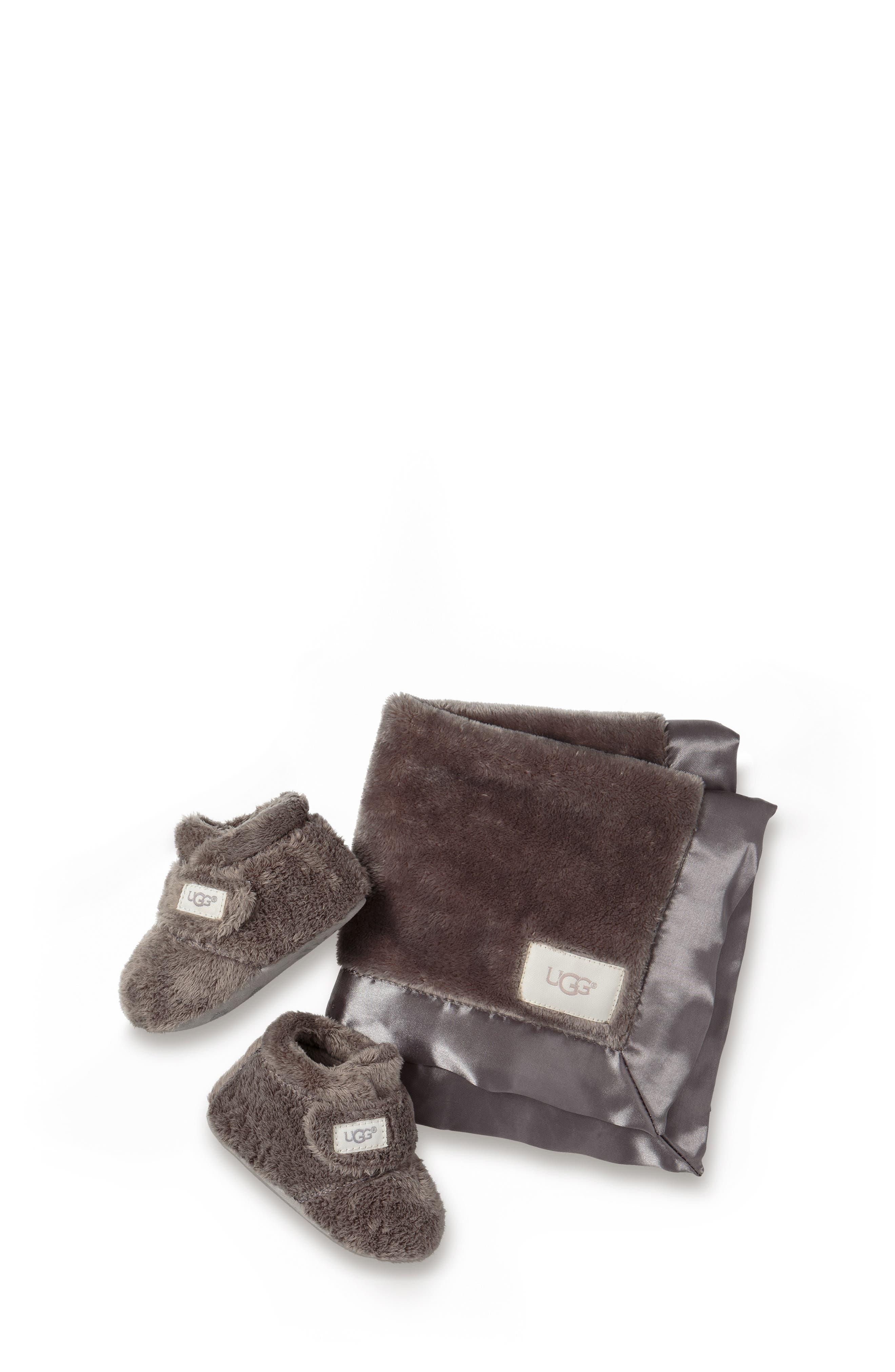UGG<SUP>®</SUP>, Bixbee Booties & Lovey Blanket Set, Main thumbnail 1, color, CHARCOAL