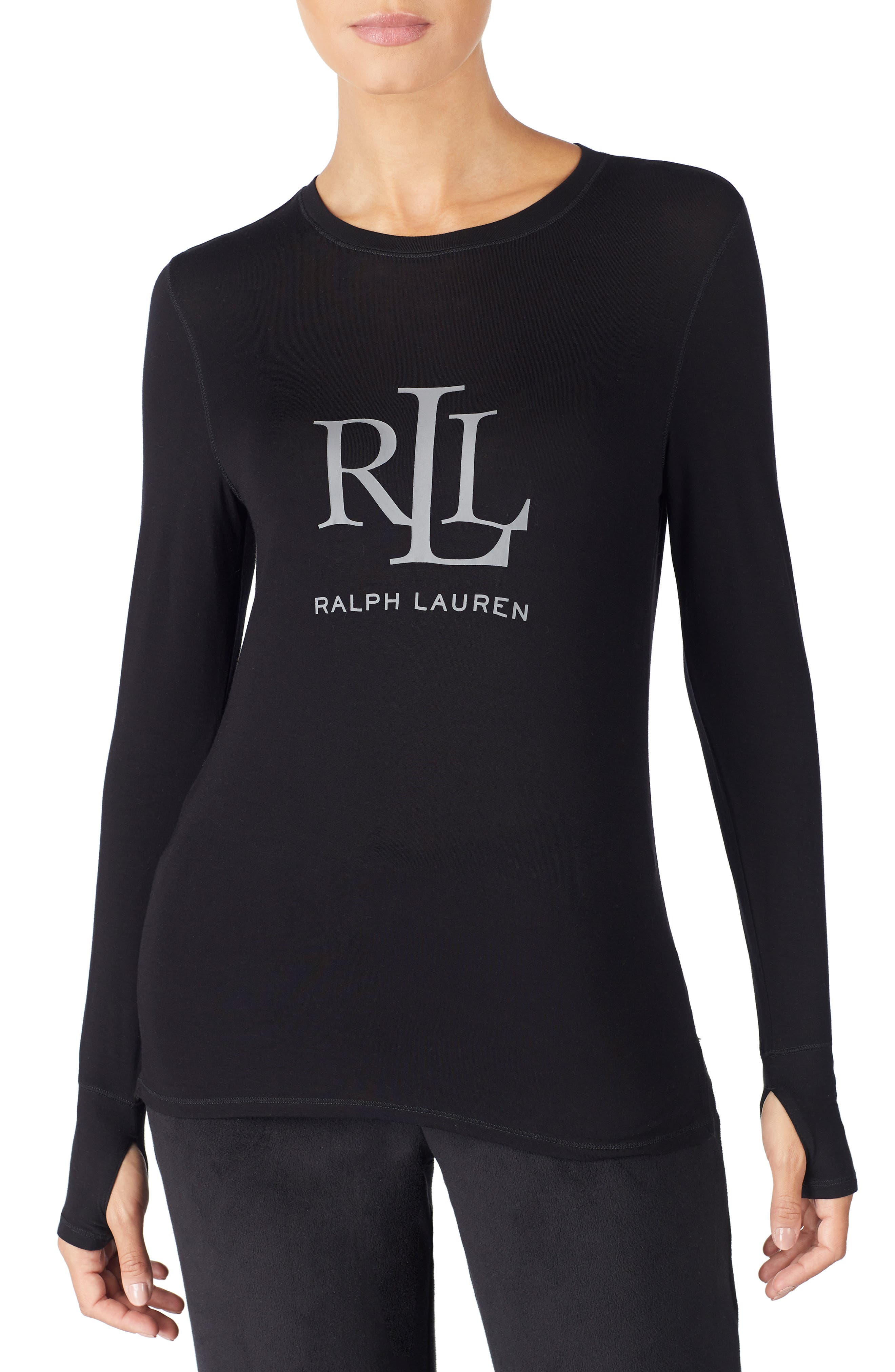 LAUREN RALPH LAUREN, Logo Graphic Lounge Tee, Main thumbnail 1, color, BLACK