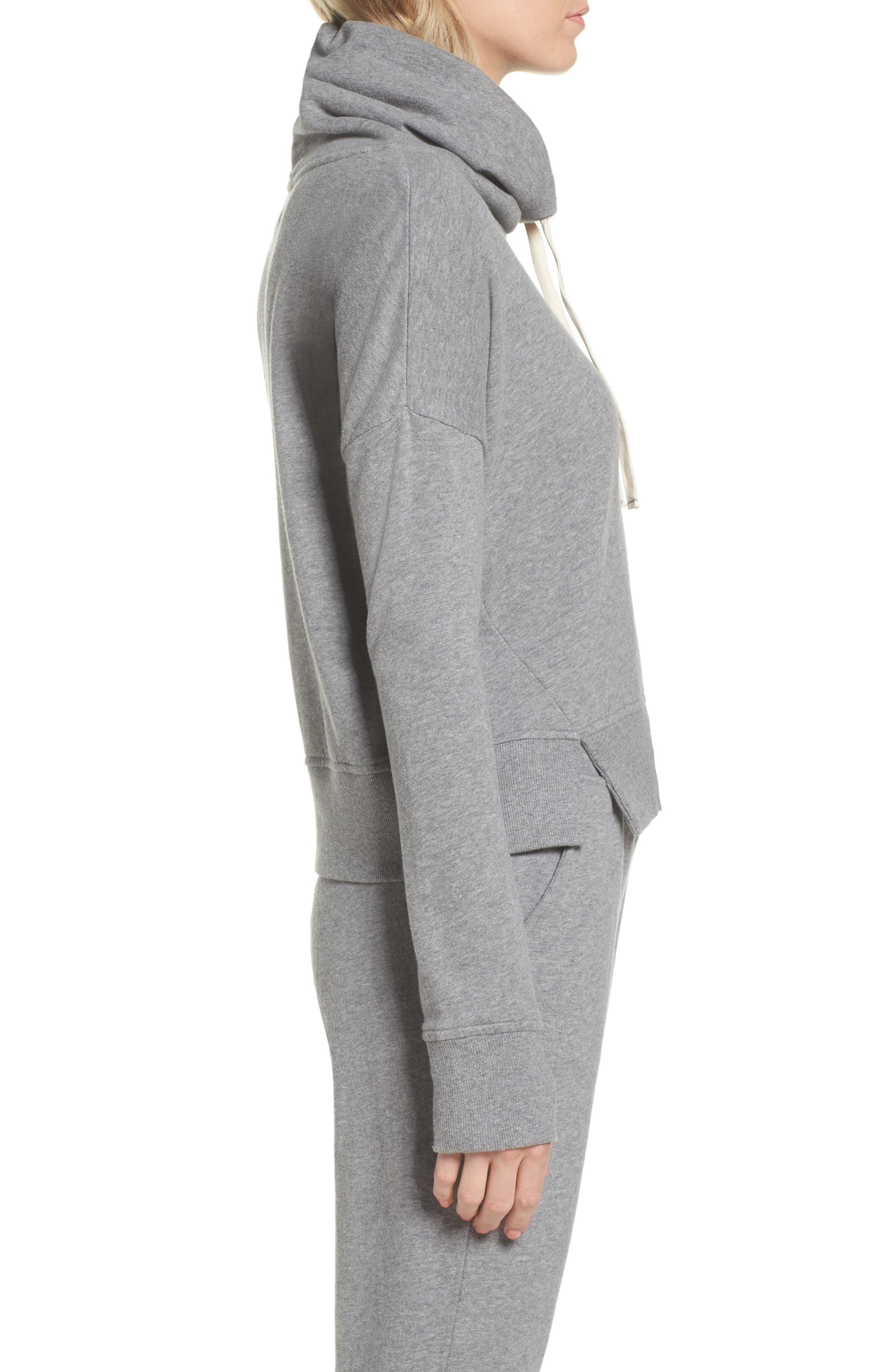 UGG<SUP>®</SUP>, Miya Funnel Neck Sweatshirt, Alternate thumbnail 3, color, GREY HEATHER