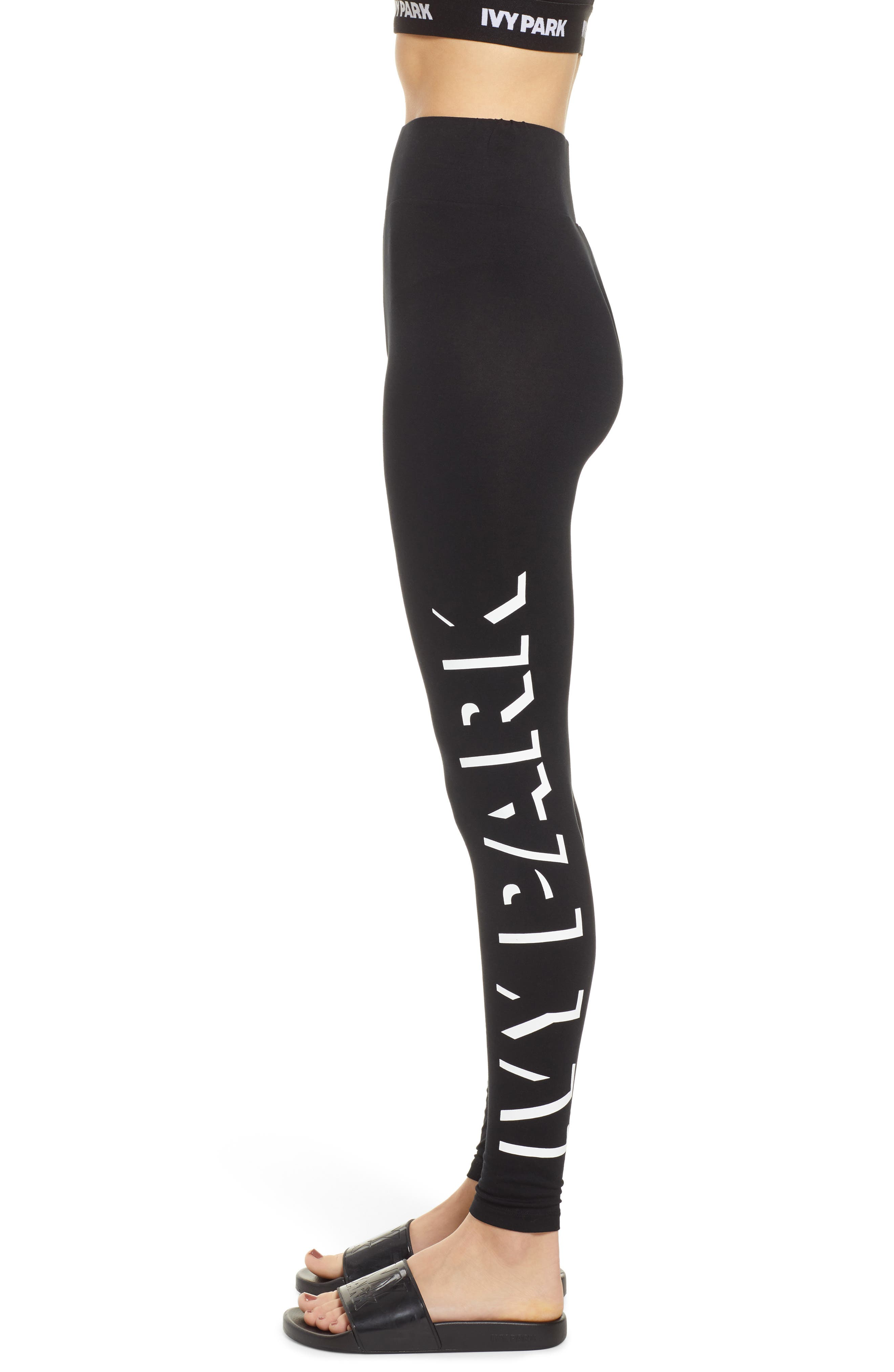 IVY PARK<SUP>®</SUP>, Shadow Logo Leggings, Alternate thumbnail 4, color, 001