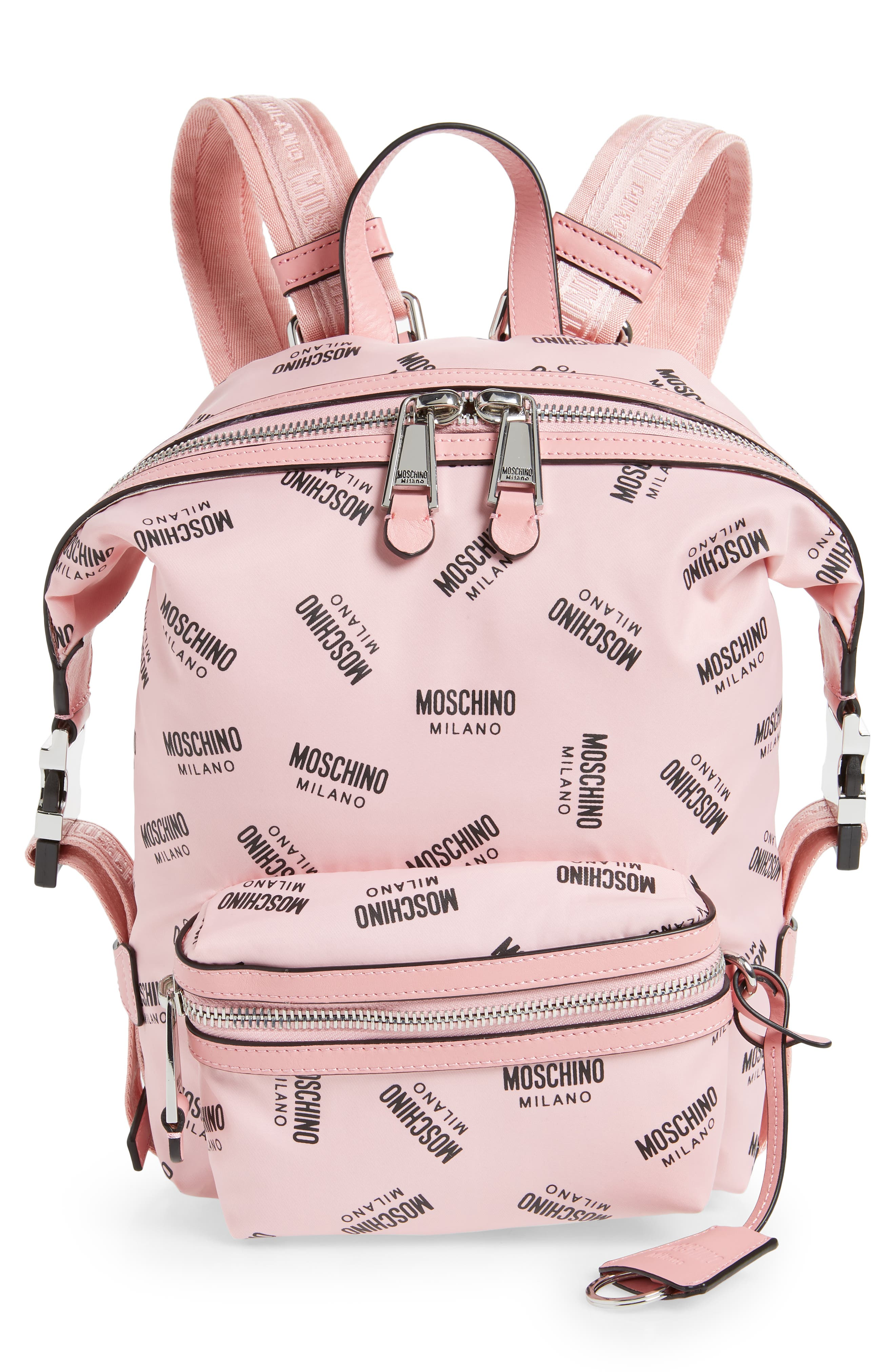 MOSCHINO Small Logo Backpack, Main, color, PINK