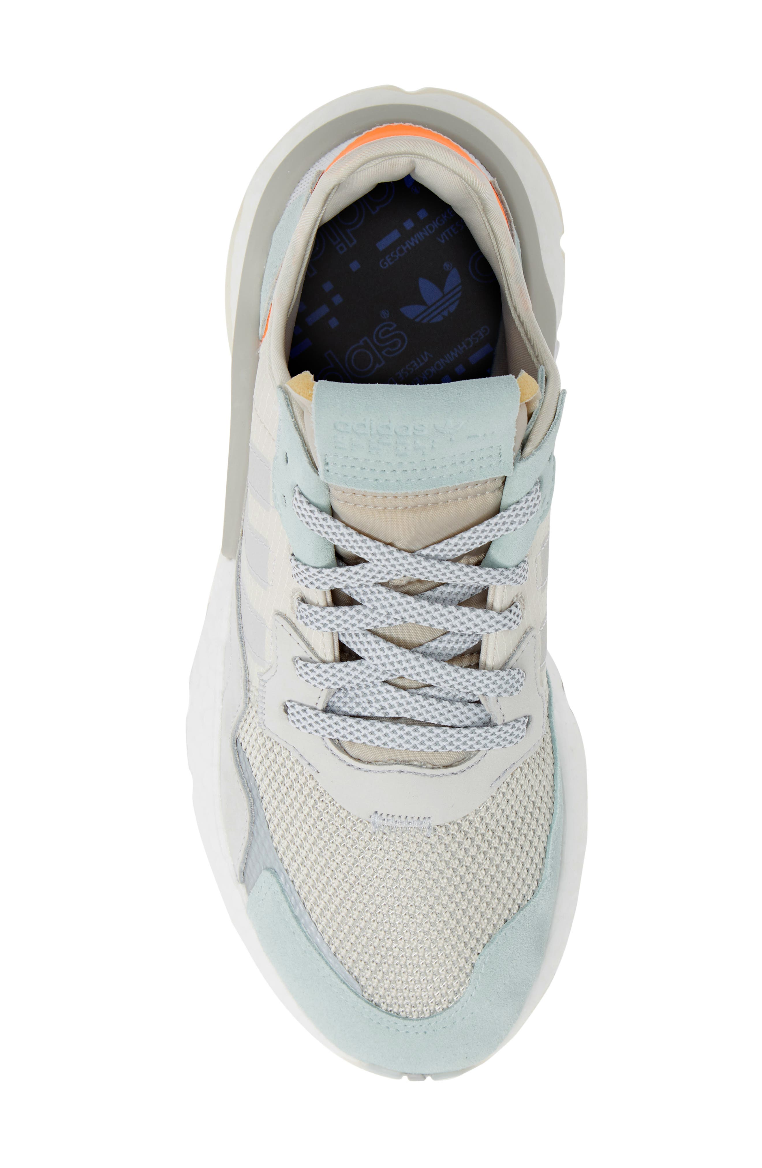 ADIDAS, Nite Jogger Sneaker, Alternate thumbnail 5, color, RAW WHITE/ GREY/ VAPOR GREEN