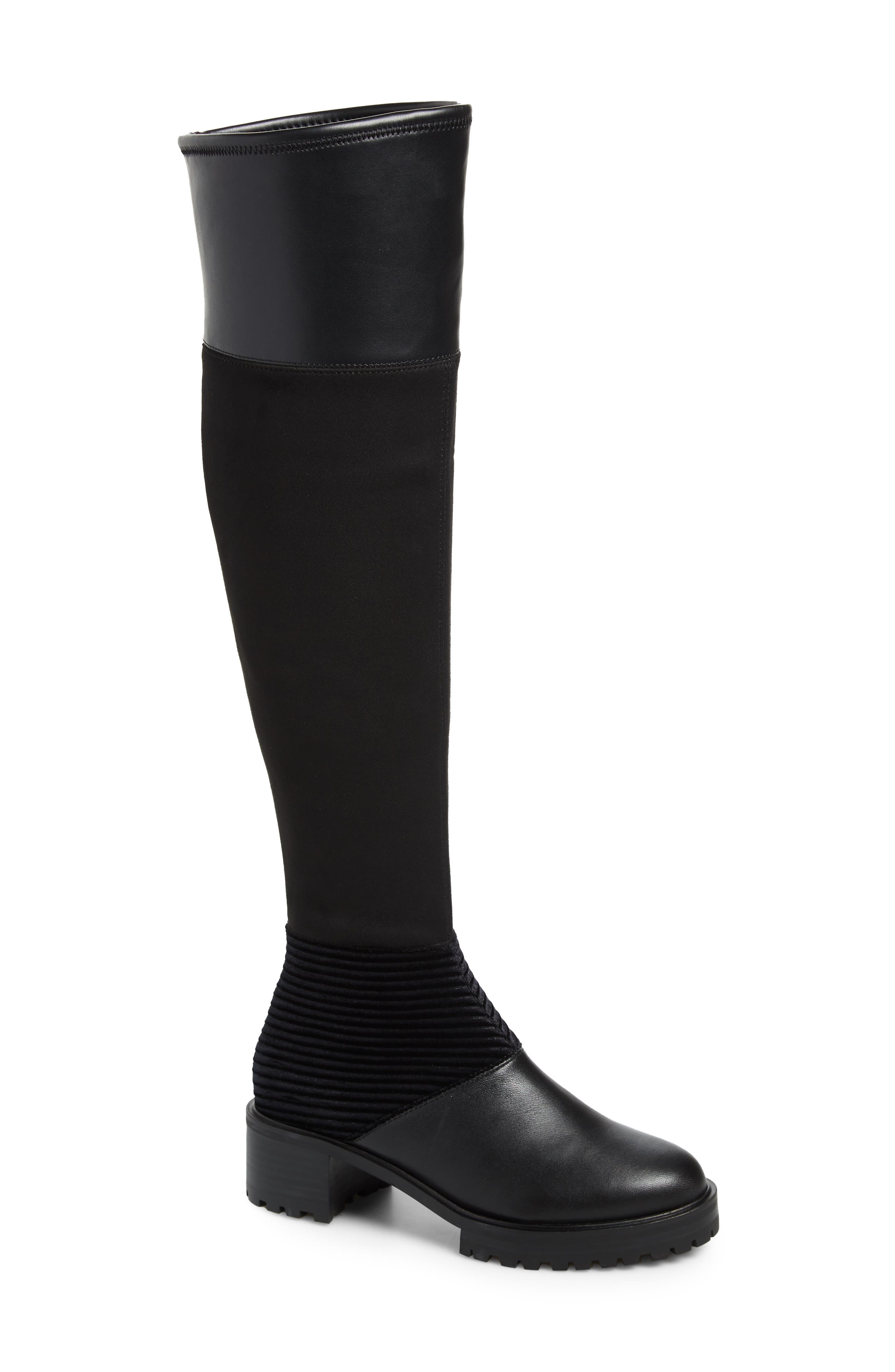 M4D3, Nakina Over the Knee Boot, Main thumbnail 1, color, BLACK LEATHER