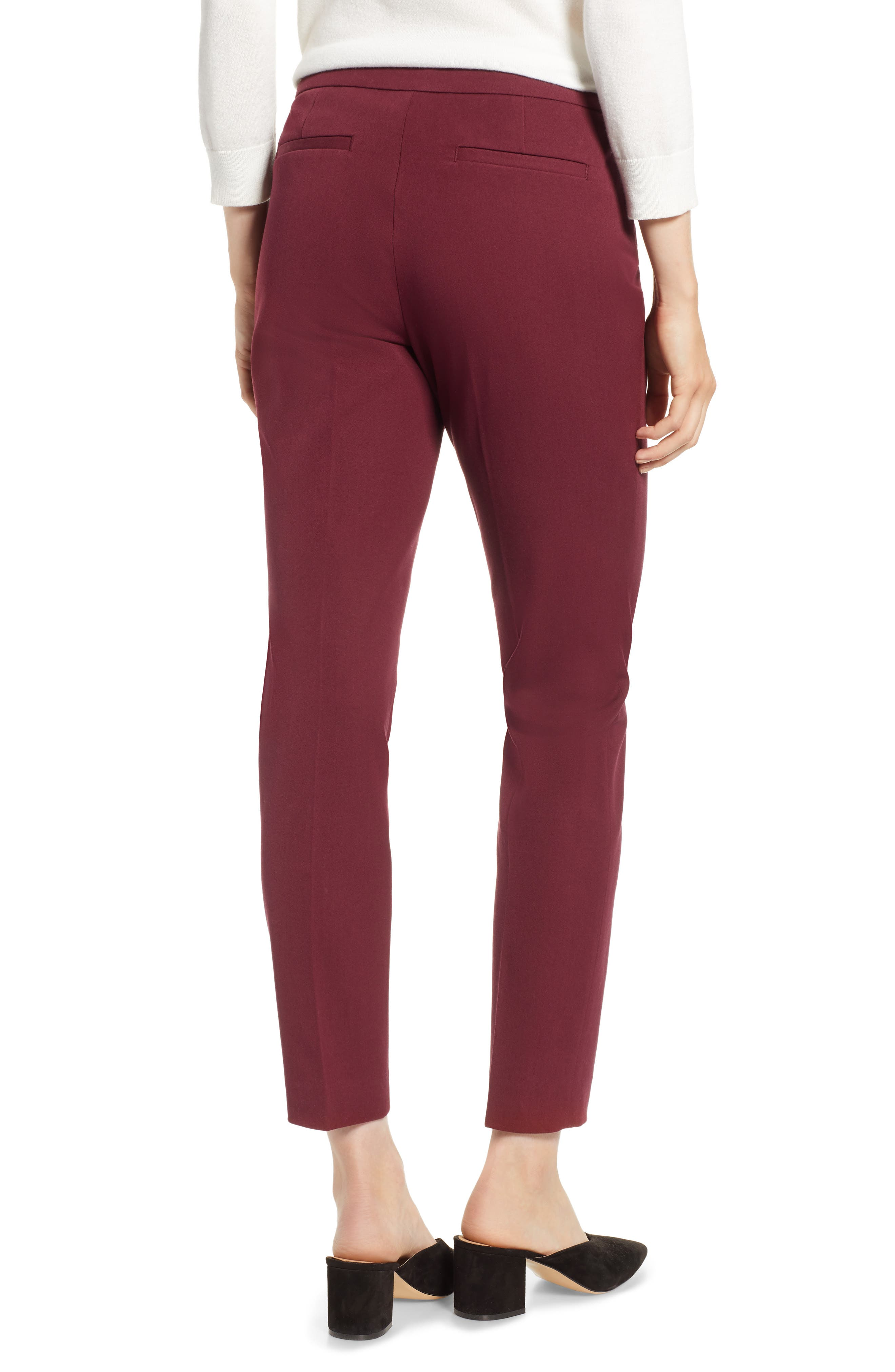 HALOGEN<SUP>®</SUP>, Ankle Pants, Alternate thumbnail 2, color, RED TANNIN