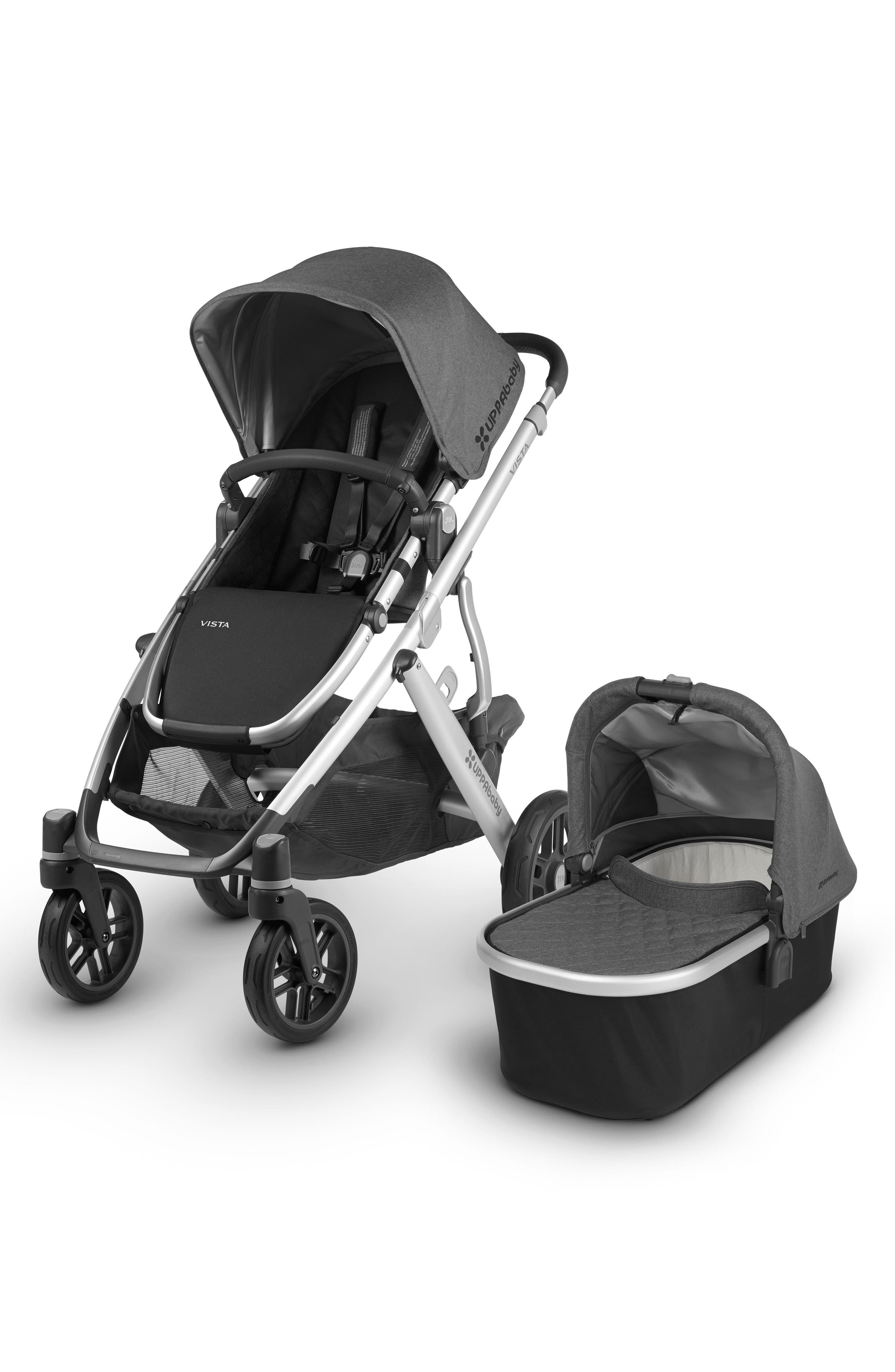 UPPABABY, 2018 VISTA Aluminum Frame Convertible Complete Stroller with Leather Trim, Main thumbnail 1, color, JORDAN CHARCOAL/ SILVER