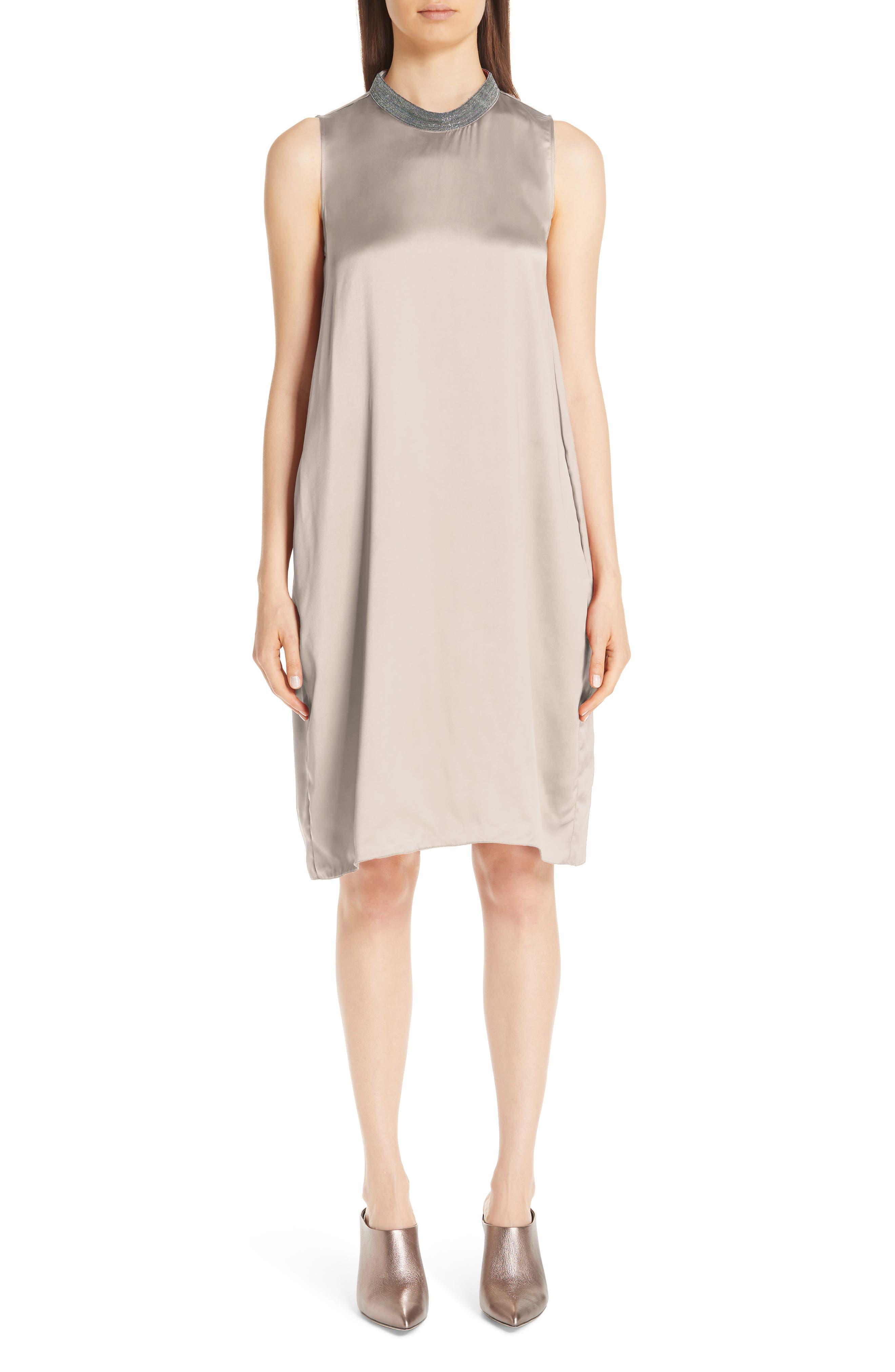 Fabiana Filippi Chain Trim Satin Dress, US / 40 IT - Beige