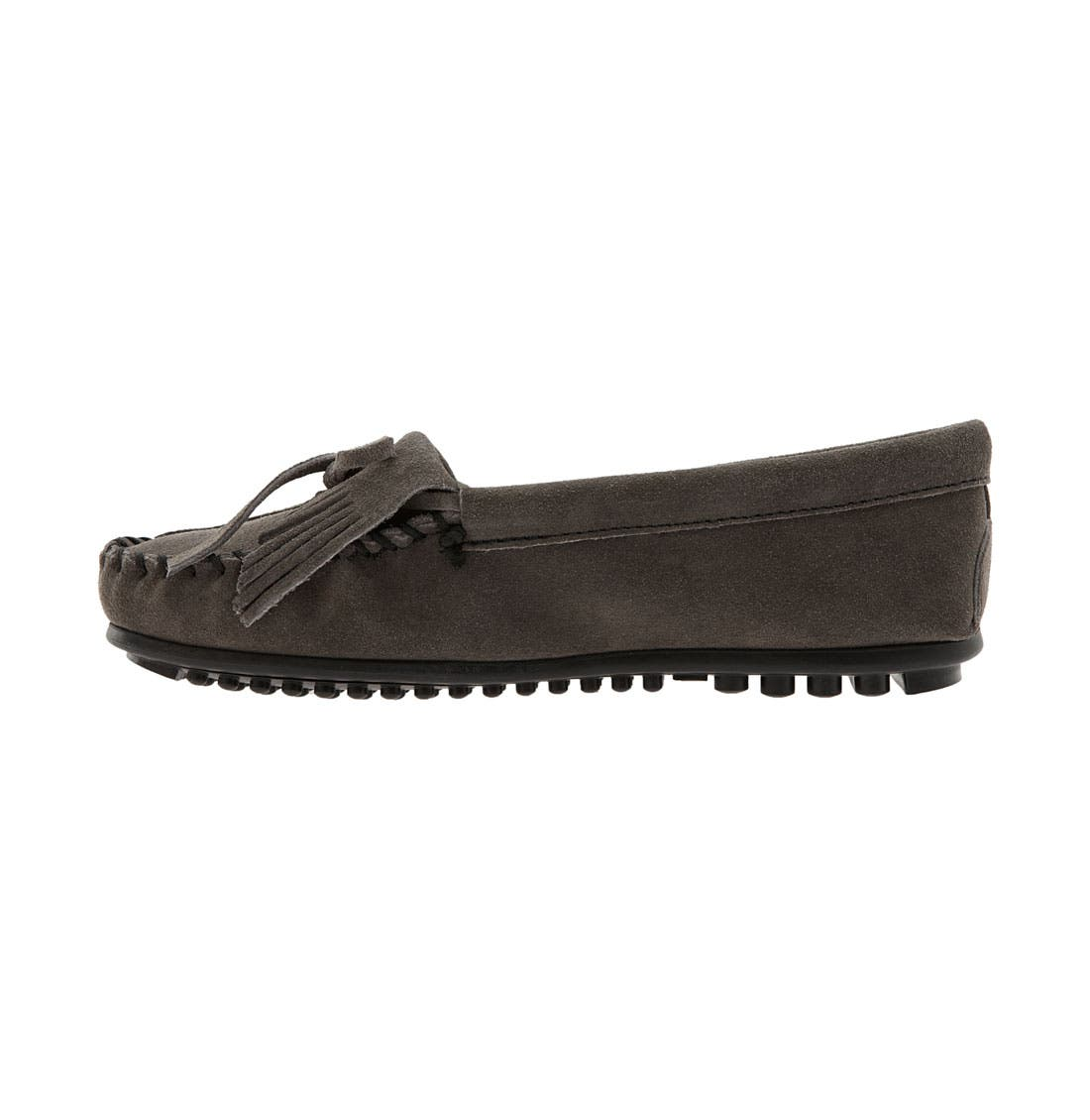 MINNETONKA, 'Kilty' Suede Moccasin, Alternate thumbnail 4, color, GREY