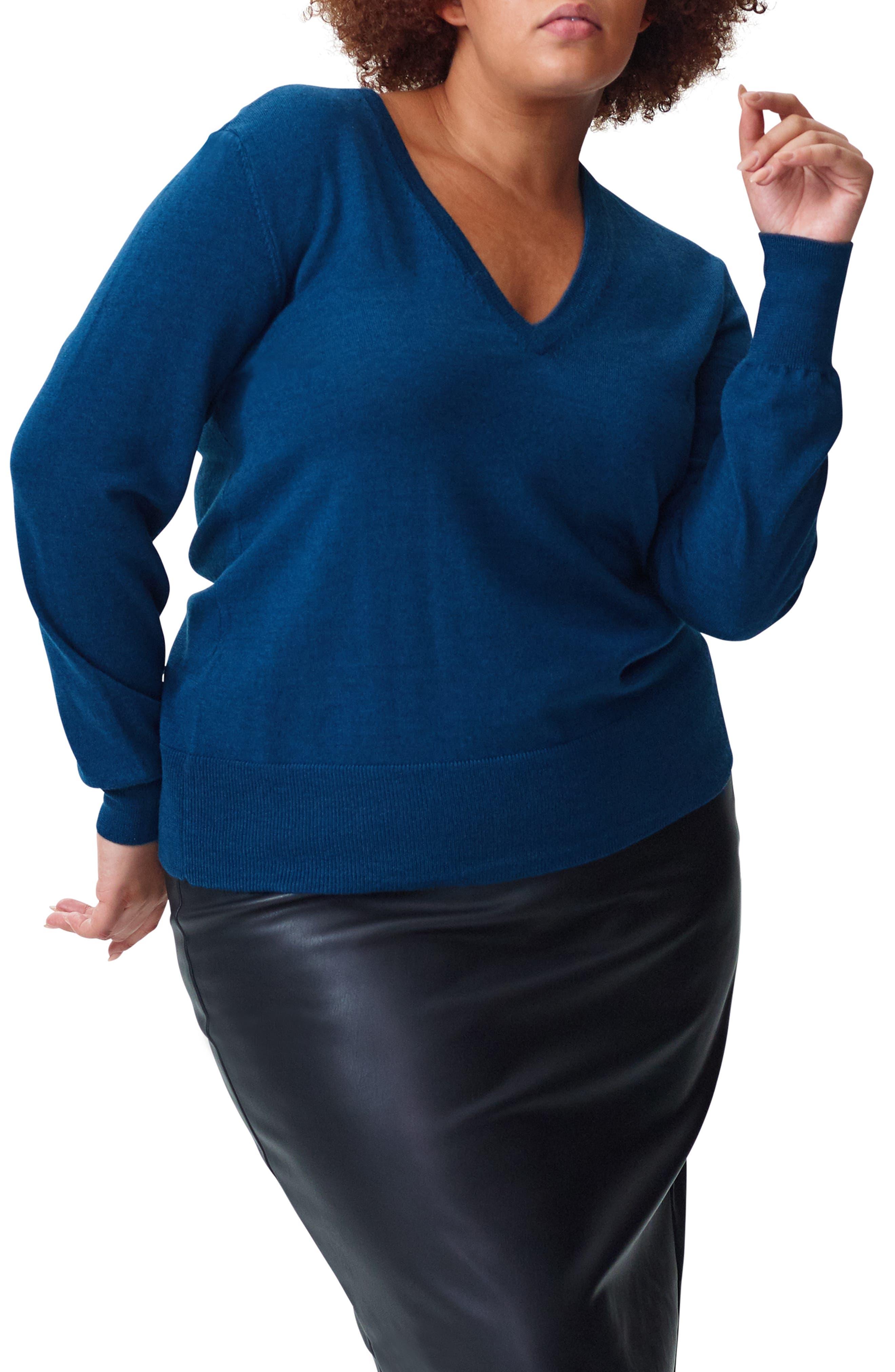 Plus Size Universal Standard Phebe Wool Sweater, Size S (1-16W) - Blue/green