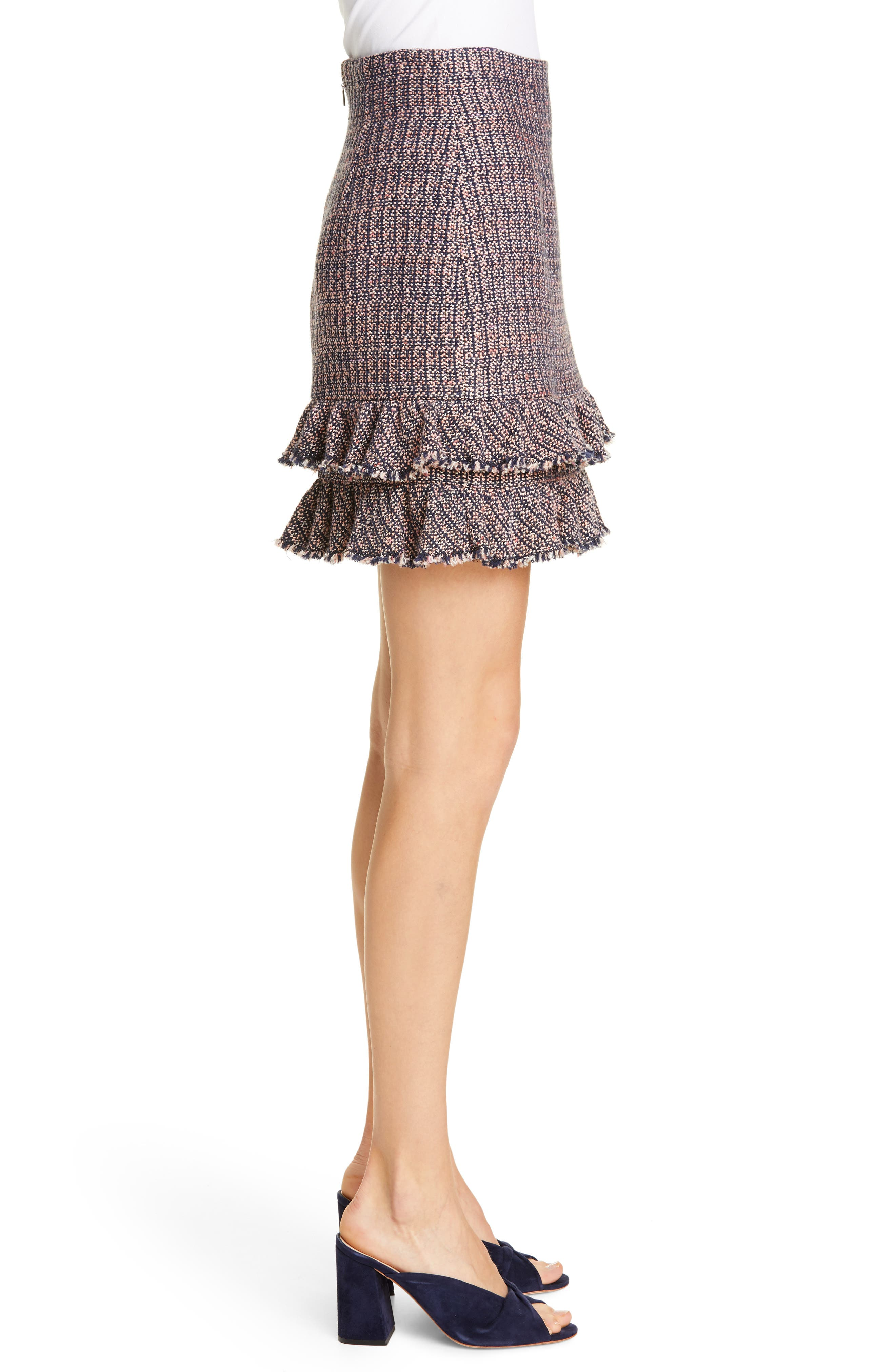 REBECCA TAYLOR, Ruffle Hem Tweed Miniskirt, Alternate thumbnail 3, color, PINK/ NAVY COMBO