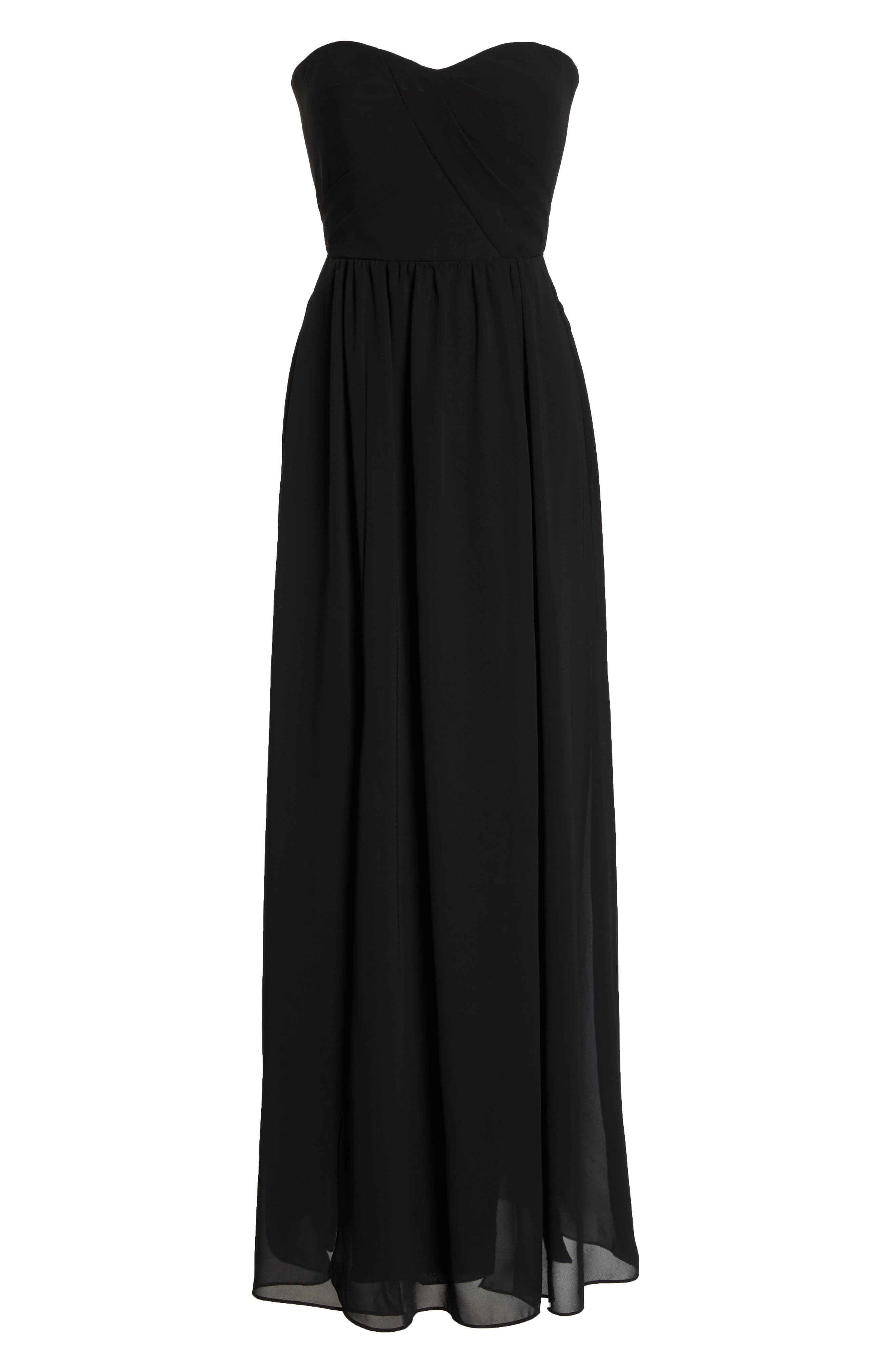SOCIAL BRIDESMAIDS, Strapless Georgette Gown, Alternate thumbnail 3, color, BLACK