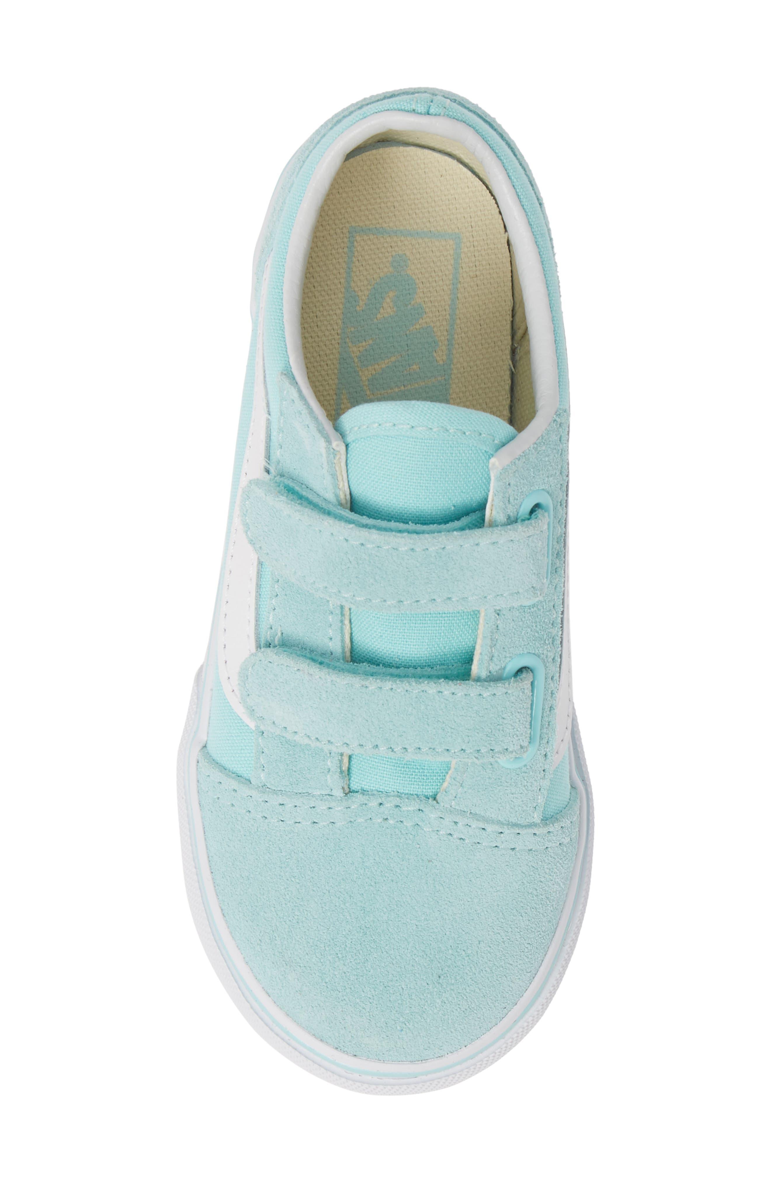 VANS, 'Old Skool V' Sneaker, Alternate thumbnail 5, color, BLUE TINT/ TRUE WHITE