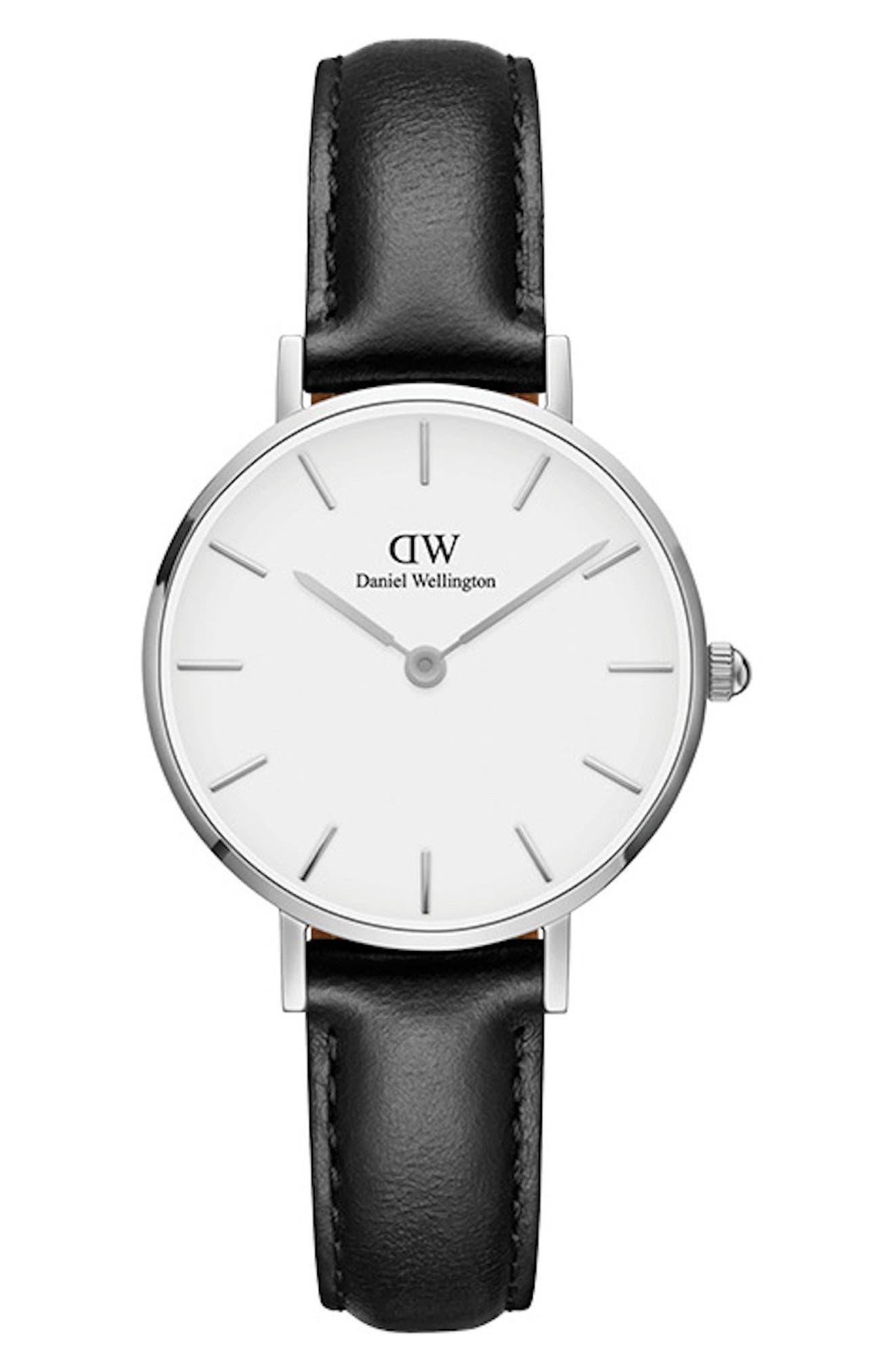 DANIEL WELLINGTON Classic Petite Leather Strap Watch, 28mm, Main, color, BLACK/ WHITE/ SILVER