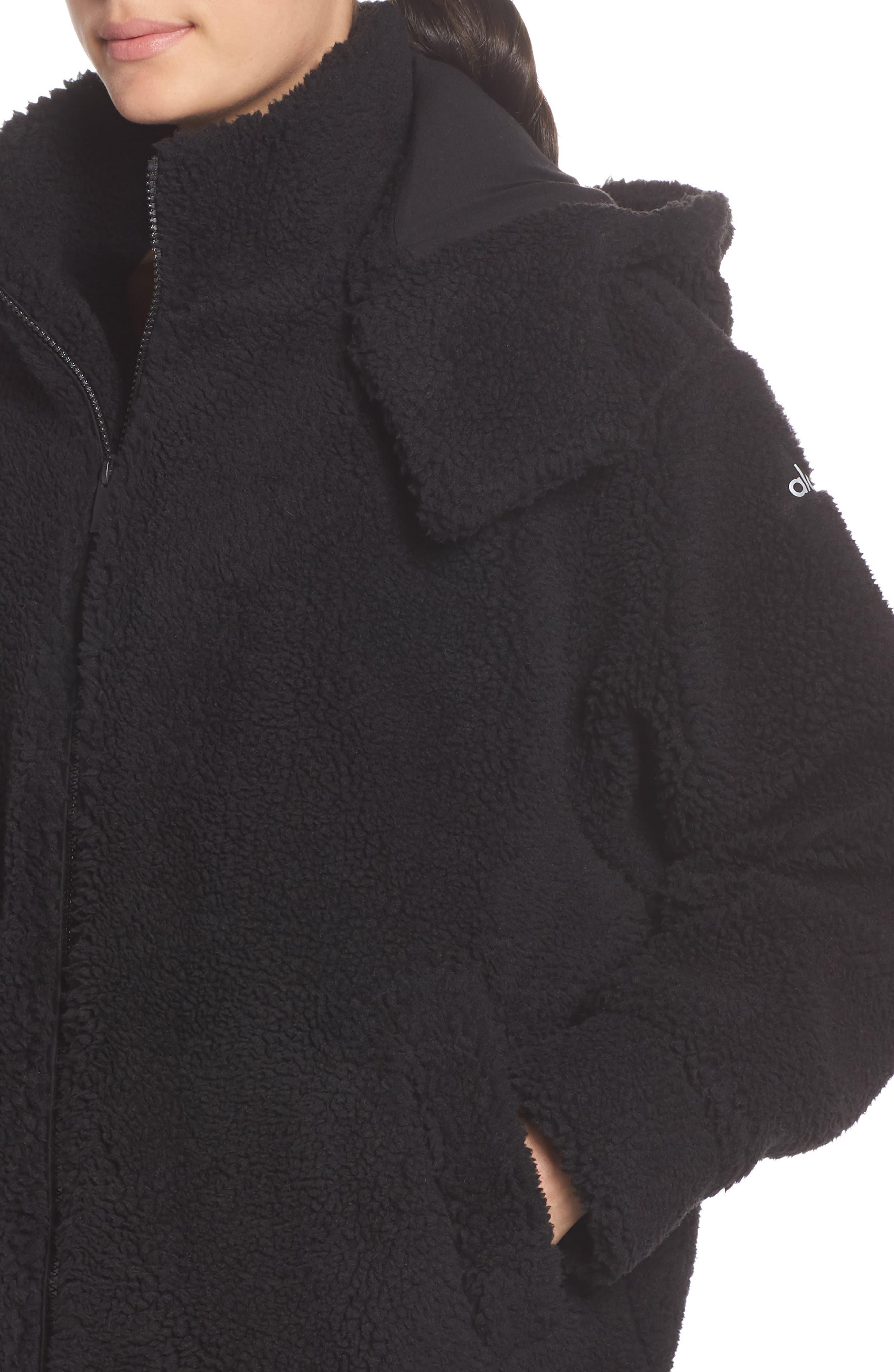 ALO, Norte Faux Fur Coat, Alternate thumbnail 5, color, BLACK