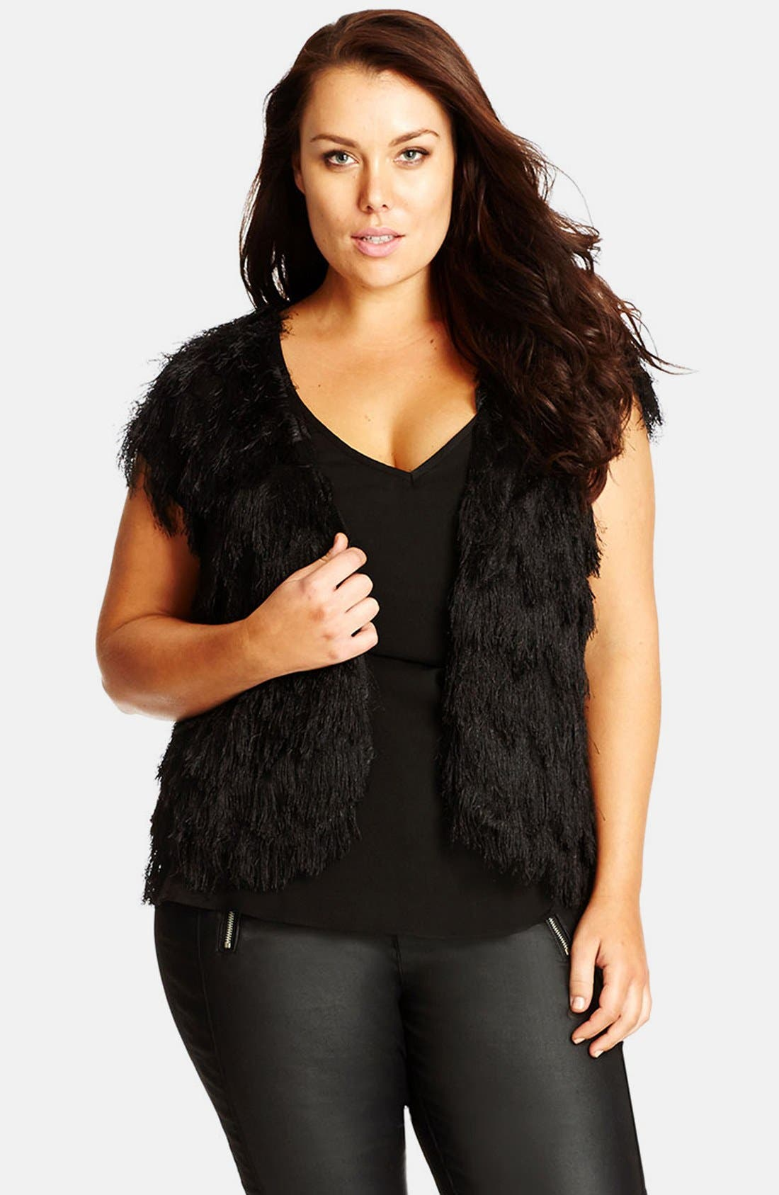 CITY CHIC, 'Disco Fringe' Vest, Alternate thumbnail 6, color, 001