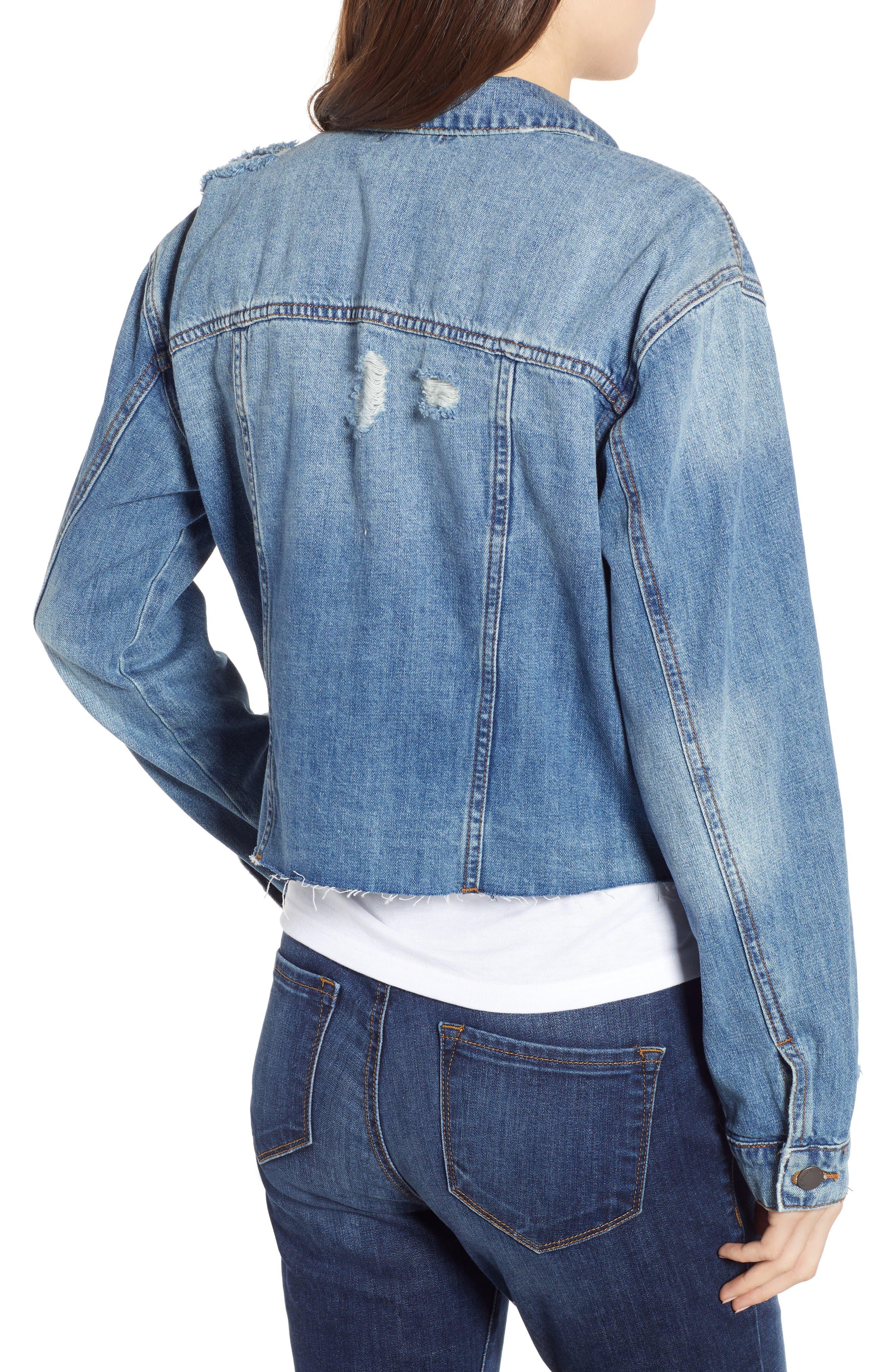 STS BLUE, Boyfriend Crop Denim Jacket, Alternate thumbnail 2, color, 400