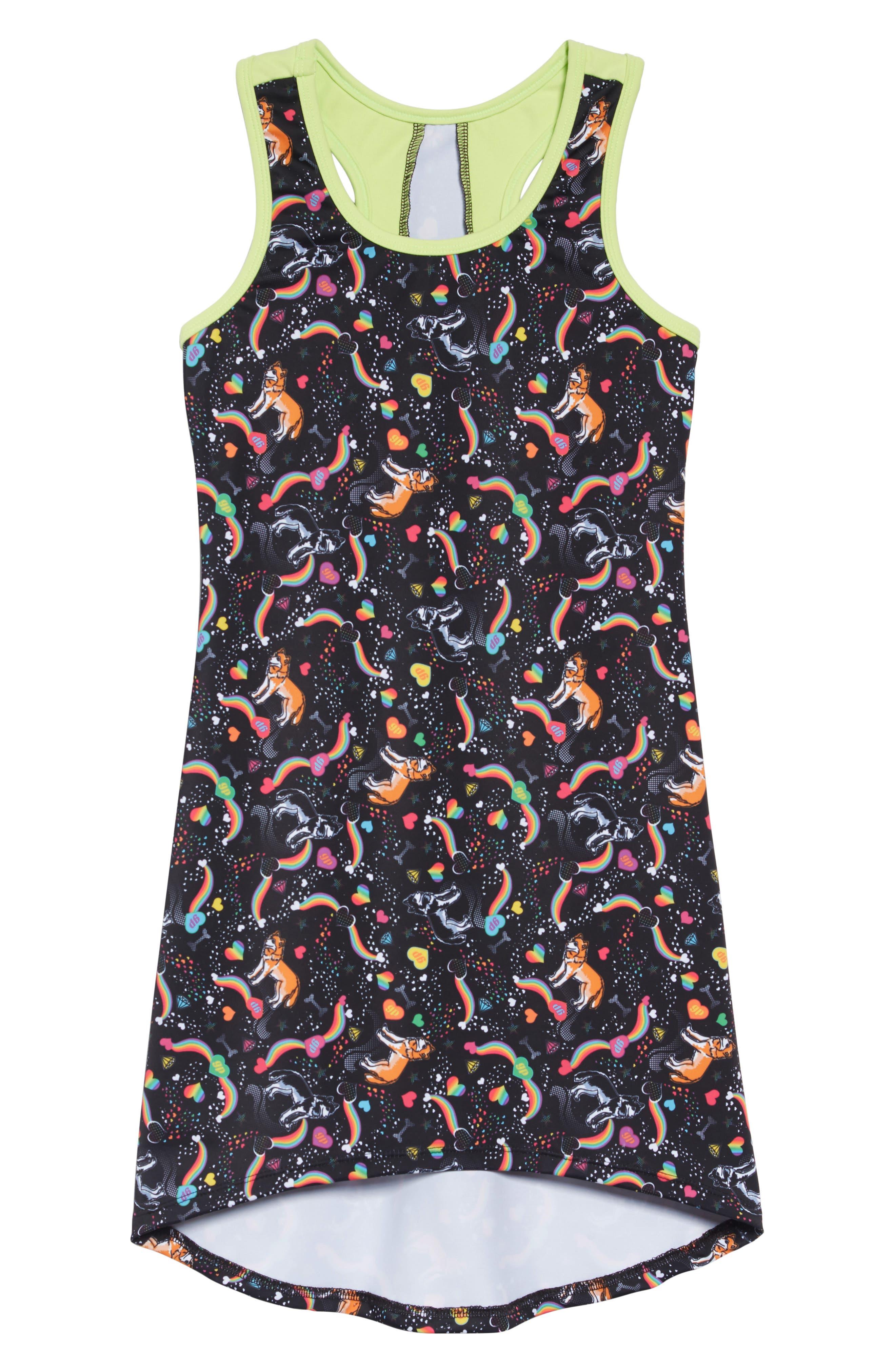 GP SPORT, Dog Love Active Dress, Main thumbnail 1, color, BLACK/ LIME