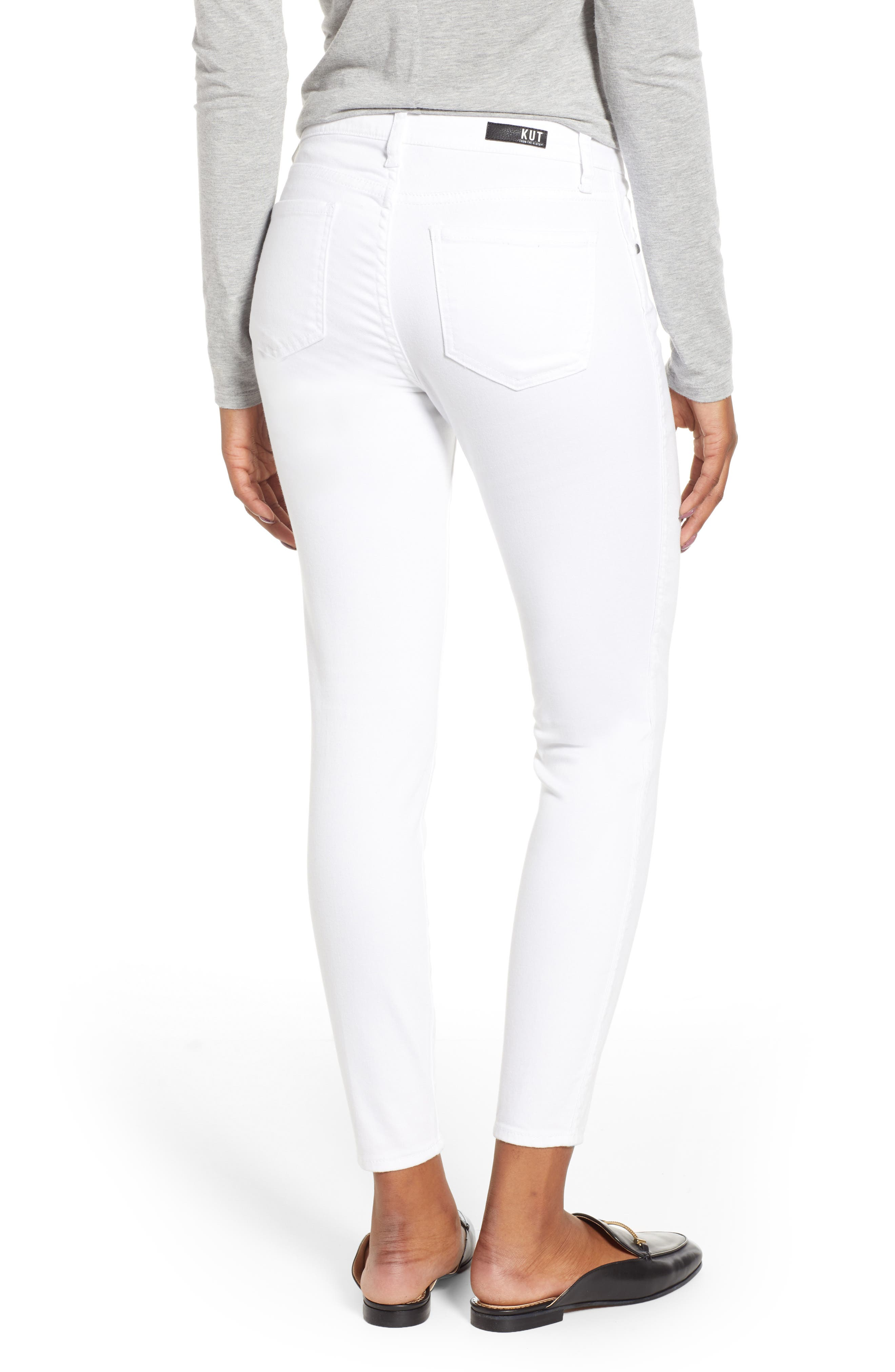 KUT FROM THE KLOTH, Donna Ankle Skinny Jeans, Alternate thumbnail 2, color, OPTIC WHITE